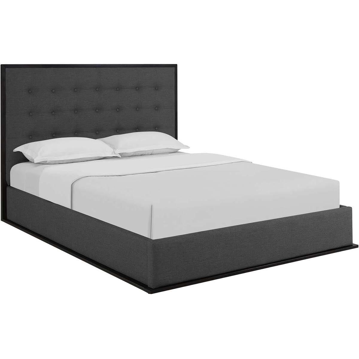 Madeline Queen Upholstered Bed Frame Cappuccino Smoke by Modern Living