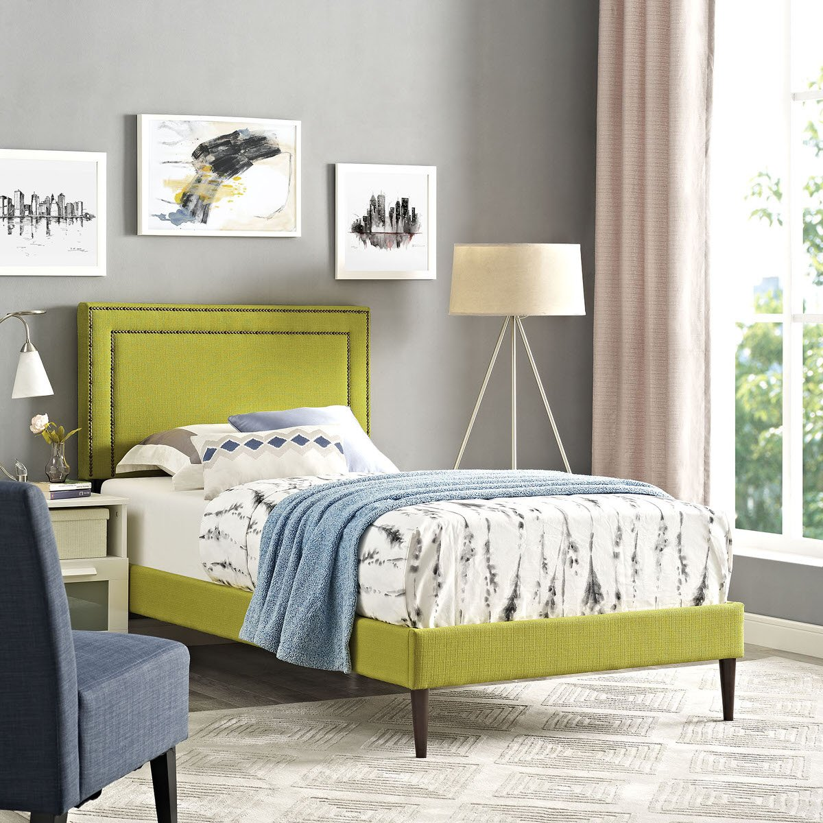 Jessamine Twin Fabric Platform Bed With Round Tapered Legs Wheatgrass By  Modway