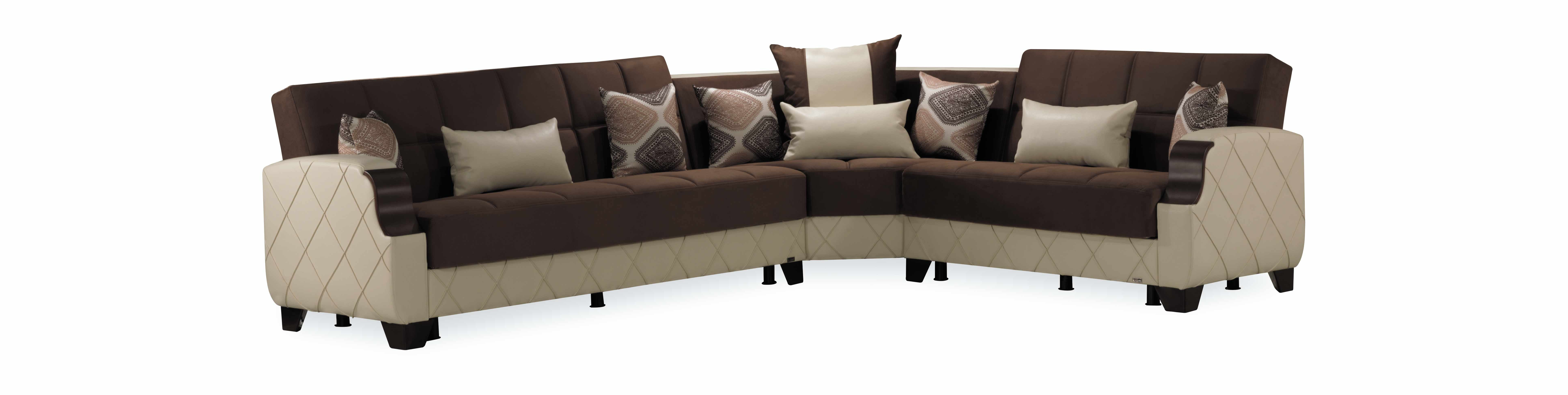 Molina Dark Brown/Cream Sectional Sofa by Casamode