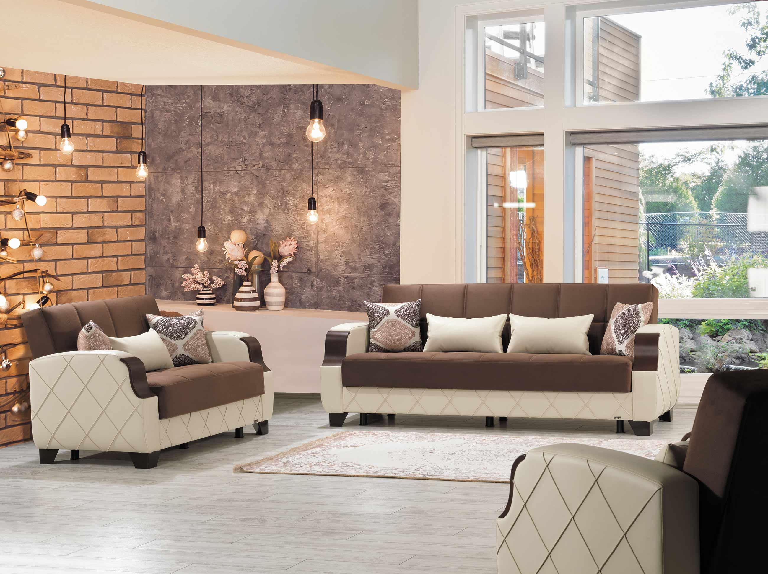 Molina Dark Brown Cream Convertible Sofa Bed By Casamode