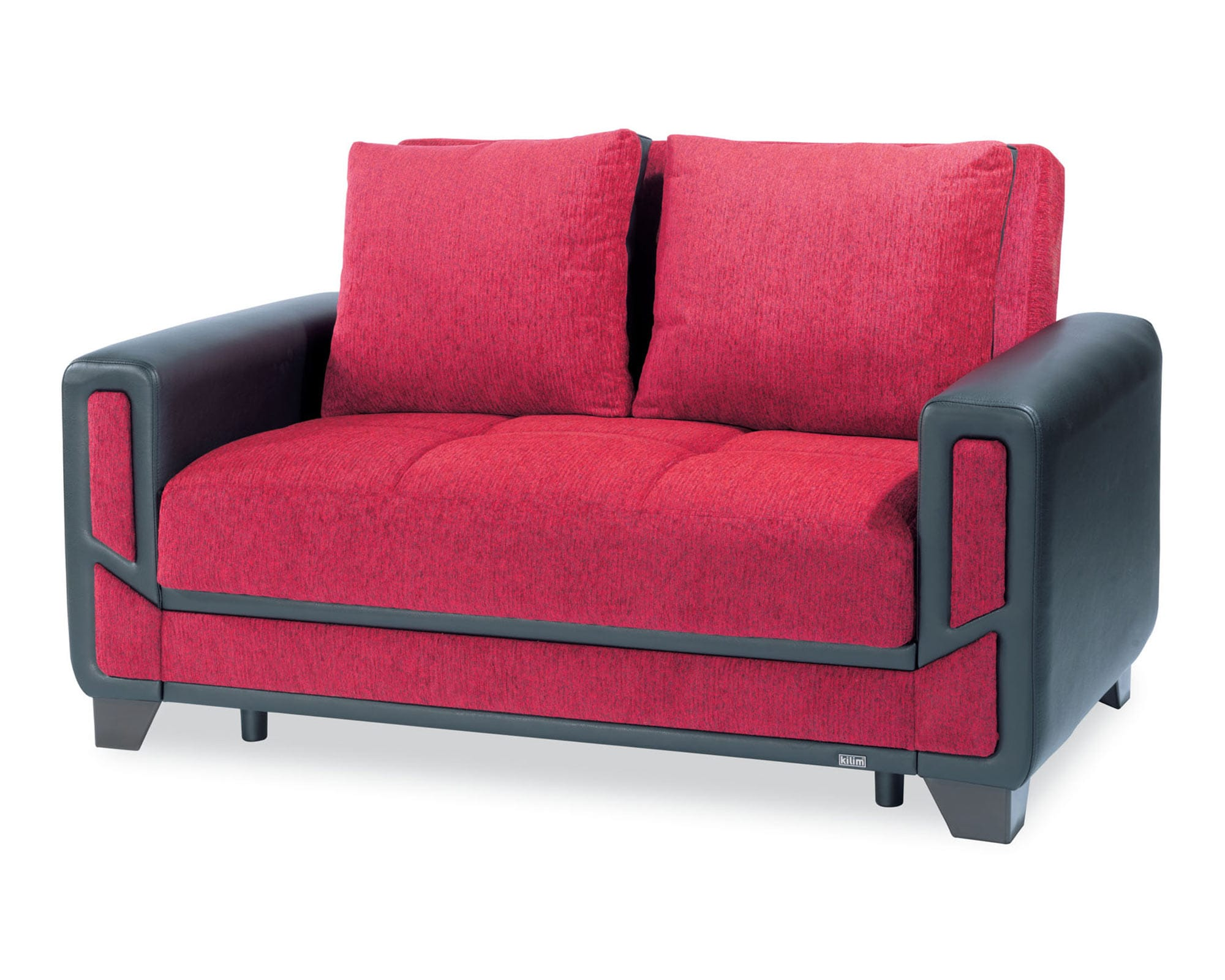 Mondo Modern Red Convertible Loveseat by Casamode