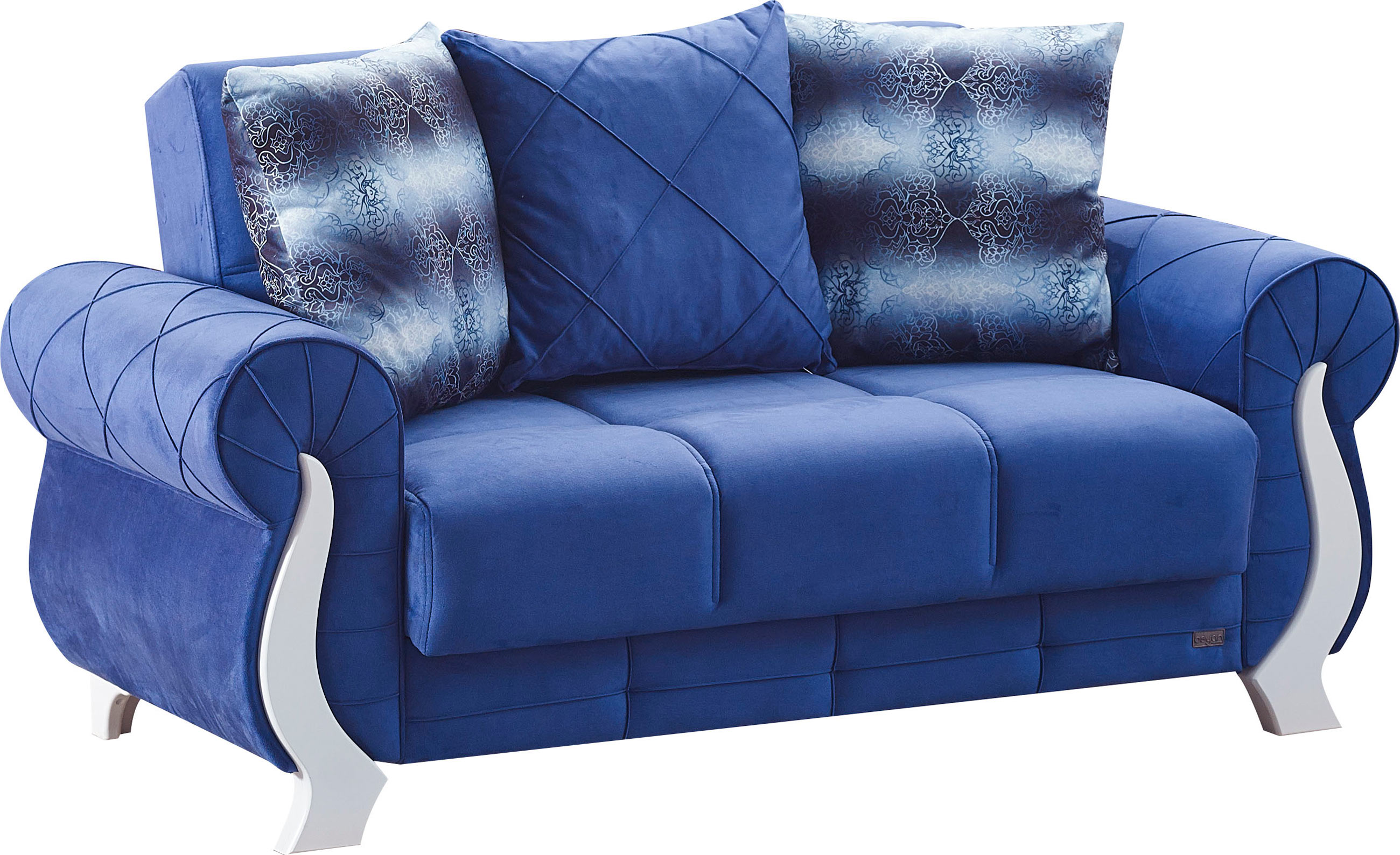 Montreal blue fabric loveseat by empire furniture usa for Ashley furniture montreal