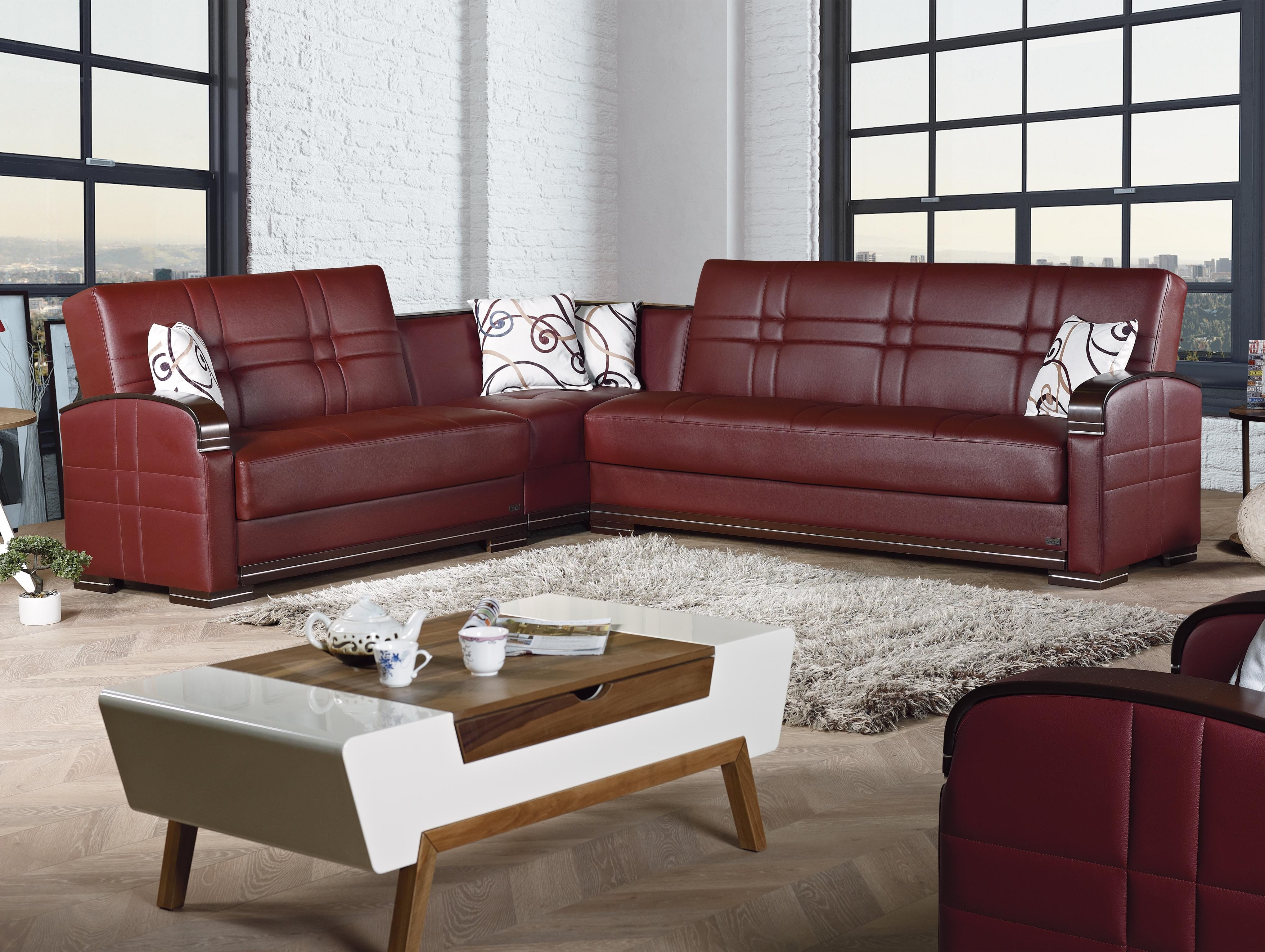 Manhattan Burgundy Leather Sectional Sofa By Empire