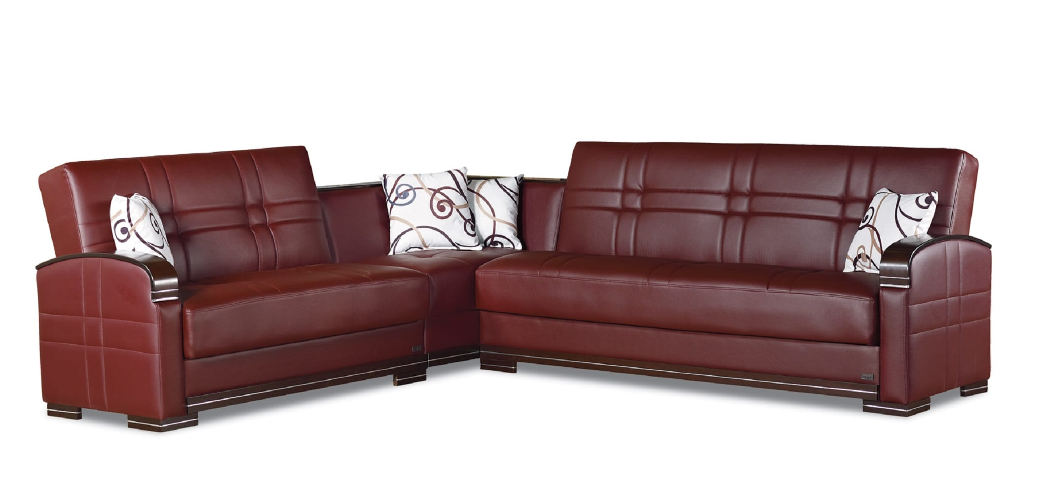 Manhattan Burgundy Leather Sectional Sofa by Empire Furniture USA