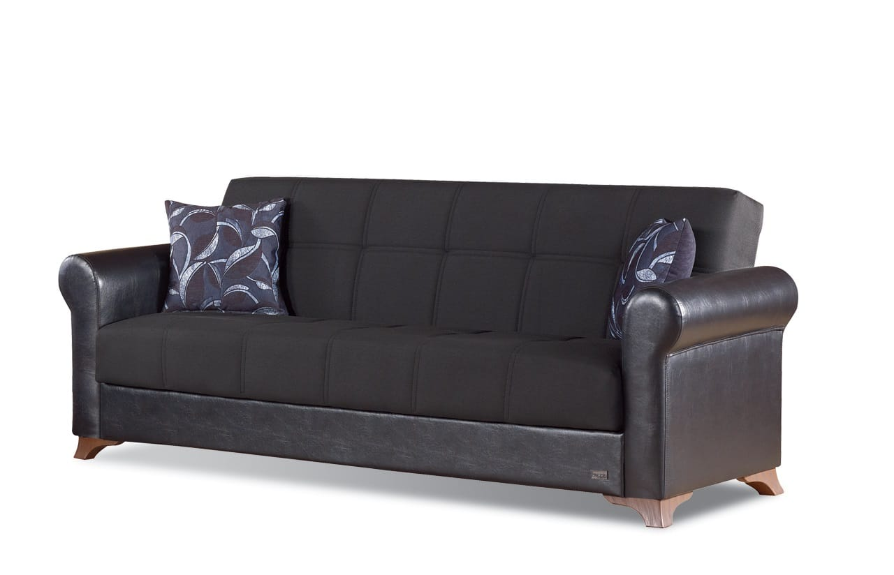 Passaic Black Leather Sofa Bed by Empire Furniture USA