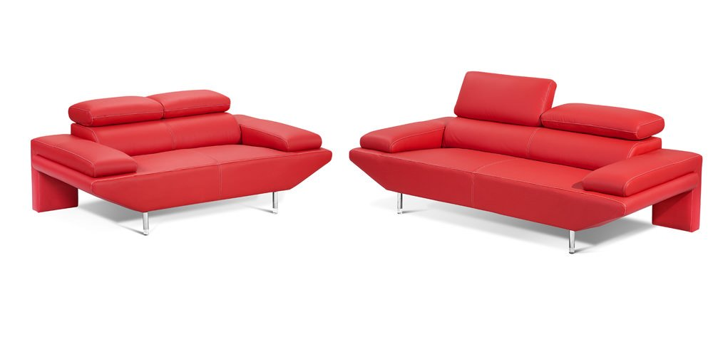 Madrid Red Sofa Loveseat Set By J M Furniture