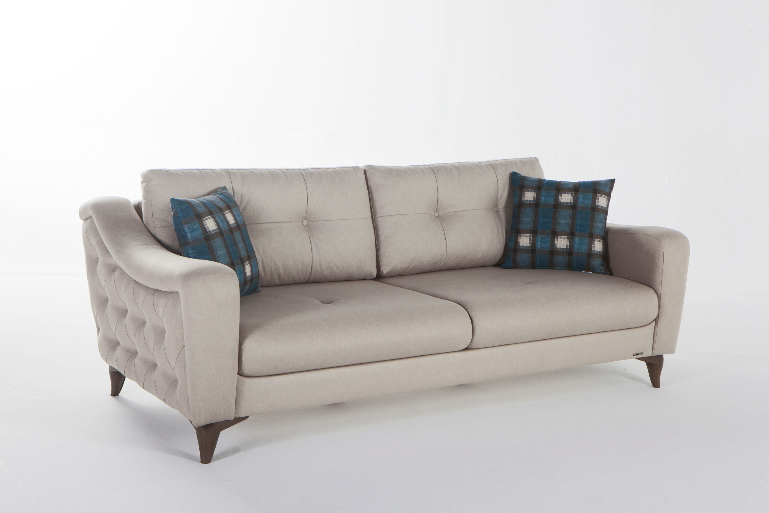 Malpensa Kasmir Cream Convertible Sofa Bed by Istikbal Furniture
