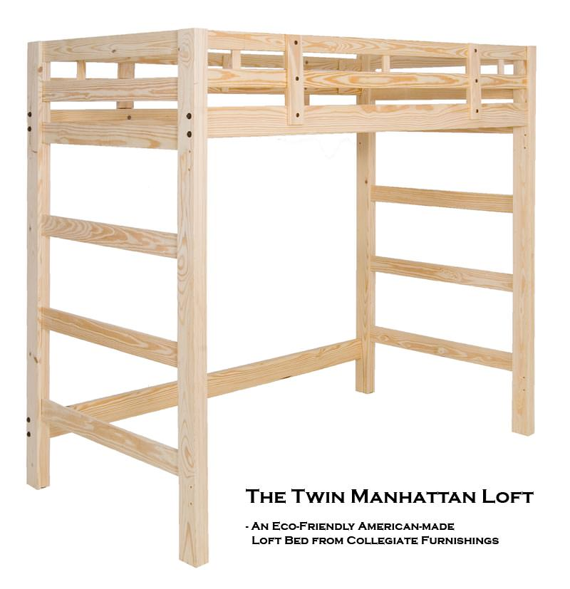Manhattan loft solid pine bed by collegiate furnishings for Unfinished loft bed