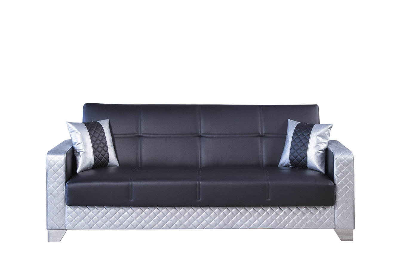 Maximum Value Black Silver Convertible Sofa By Casamode