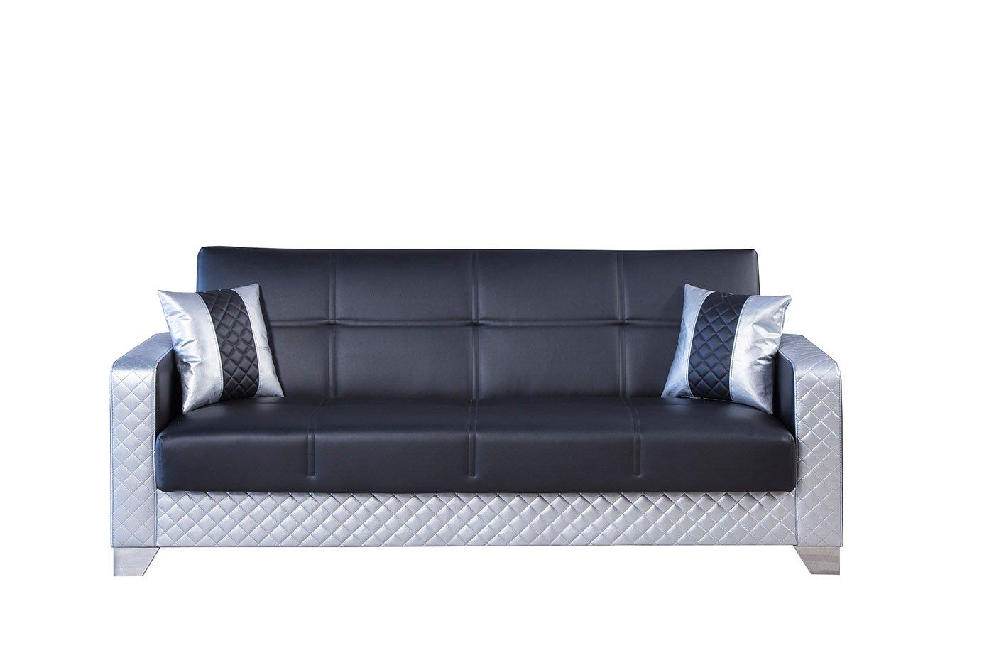 Maximum Value Black Silver Convertible Sofa By Casamode