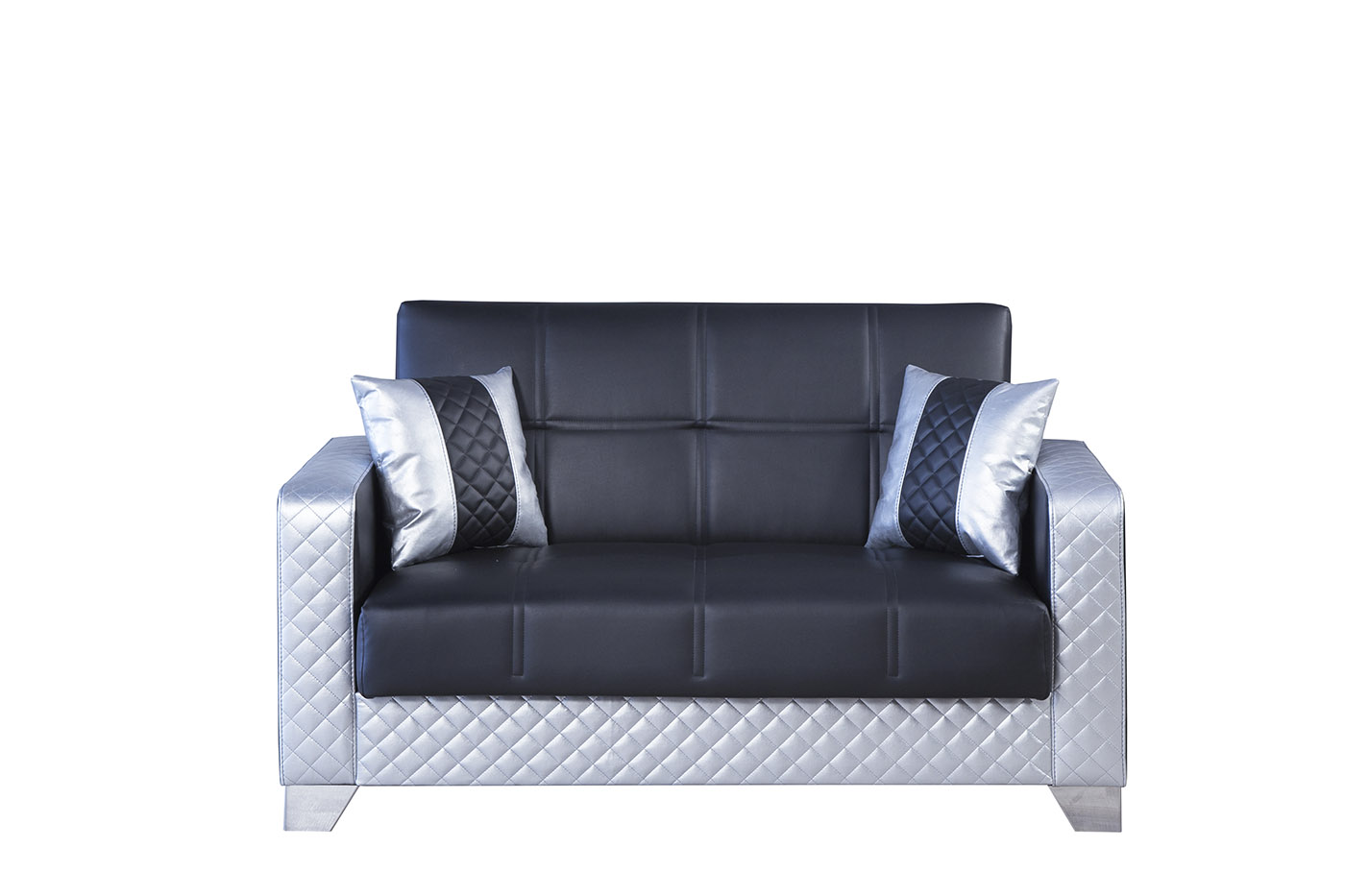 Maximum Black Silver Convertible Loveseat By Casamode
