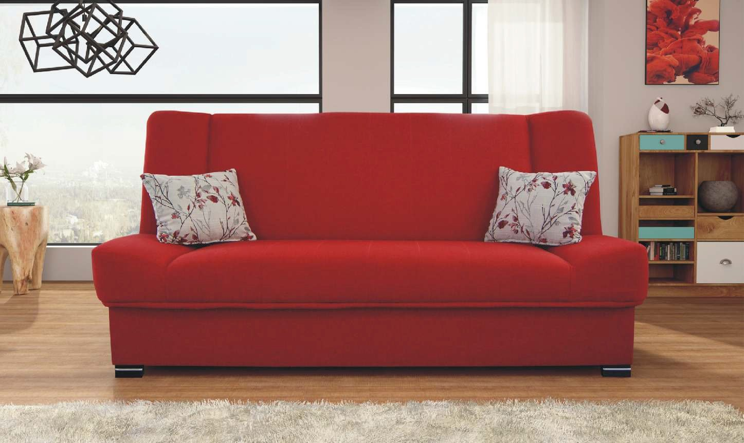 Natalia red sofa sleeper by skyler designs Red sofa ideas