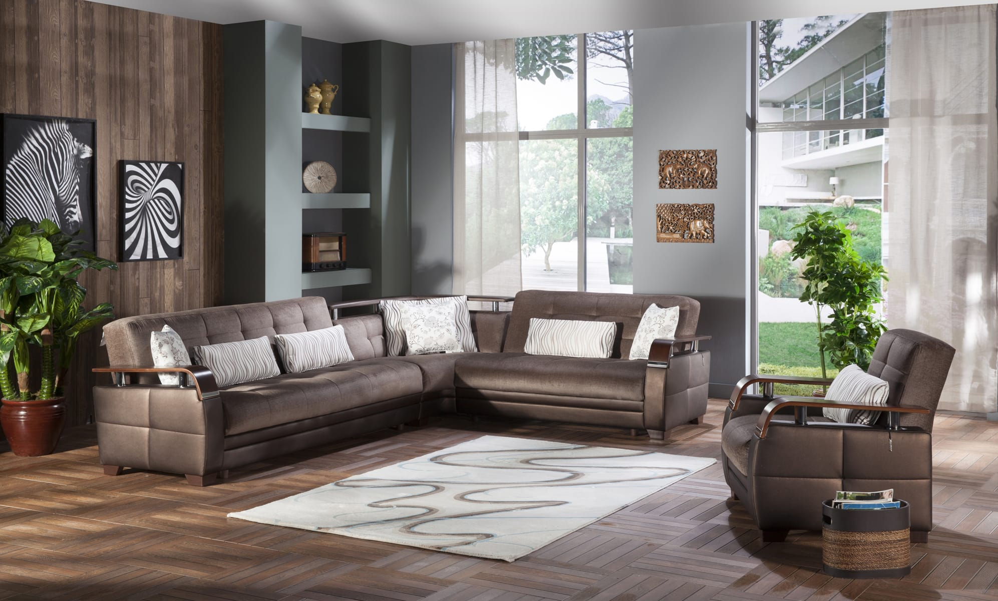 Natural Prestige Brown Sectional Sofa by Istikbal Furniture