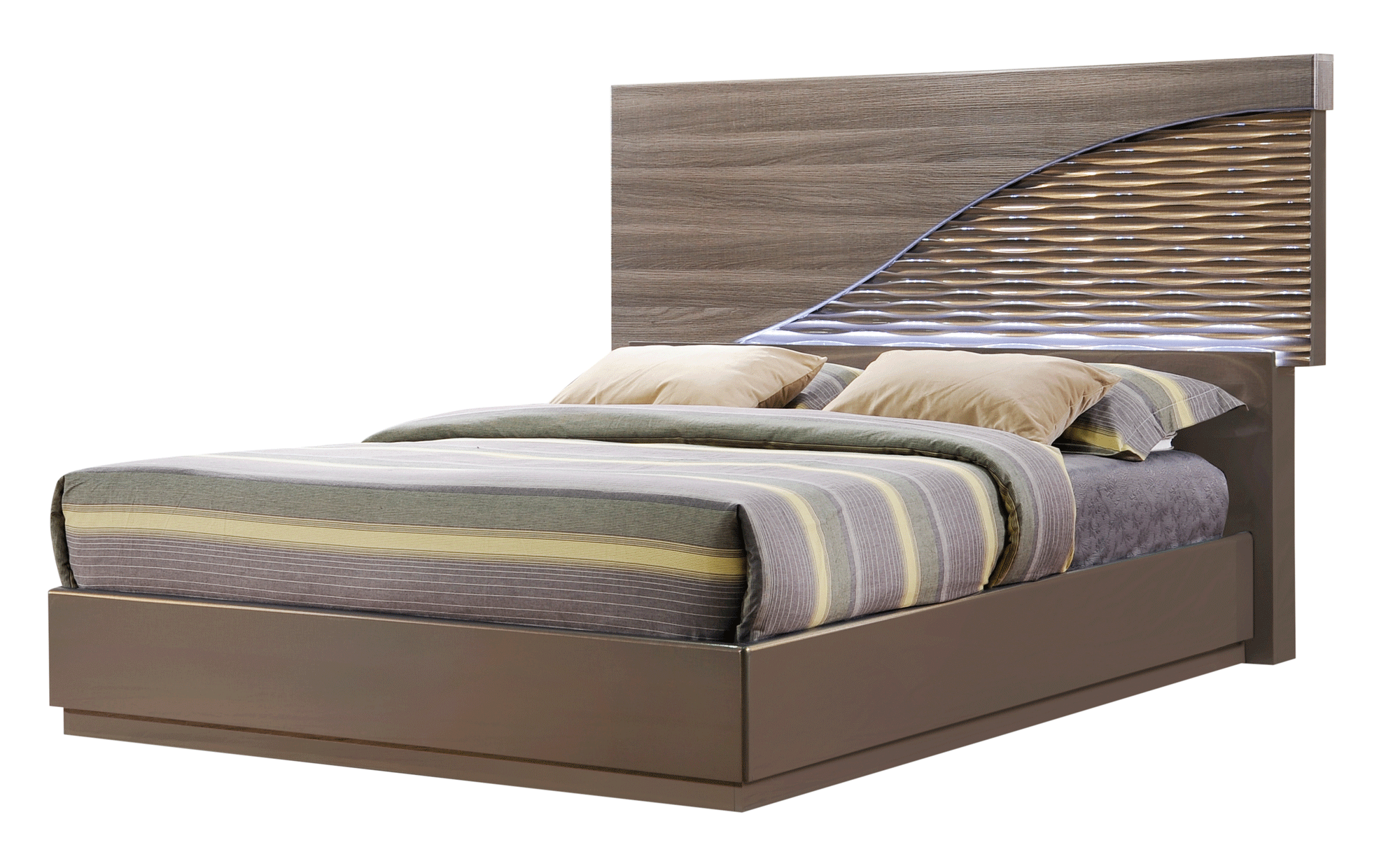 North Zebra Wood/Gold Line Bedroom Set by Global Furniture