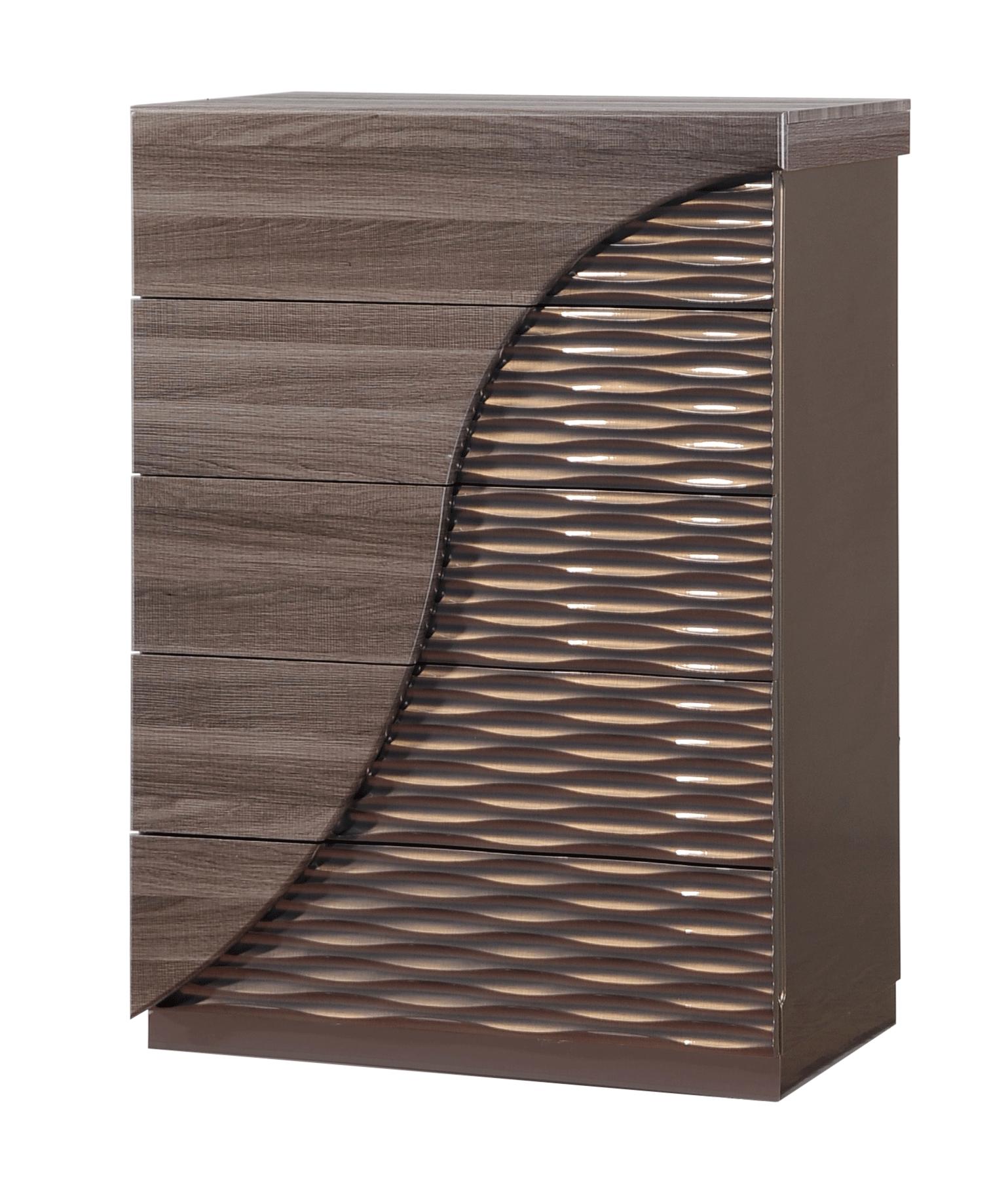 North Zebra Wood/Gold Line Bedroom Set by Global Furniture