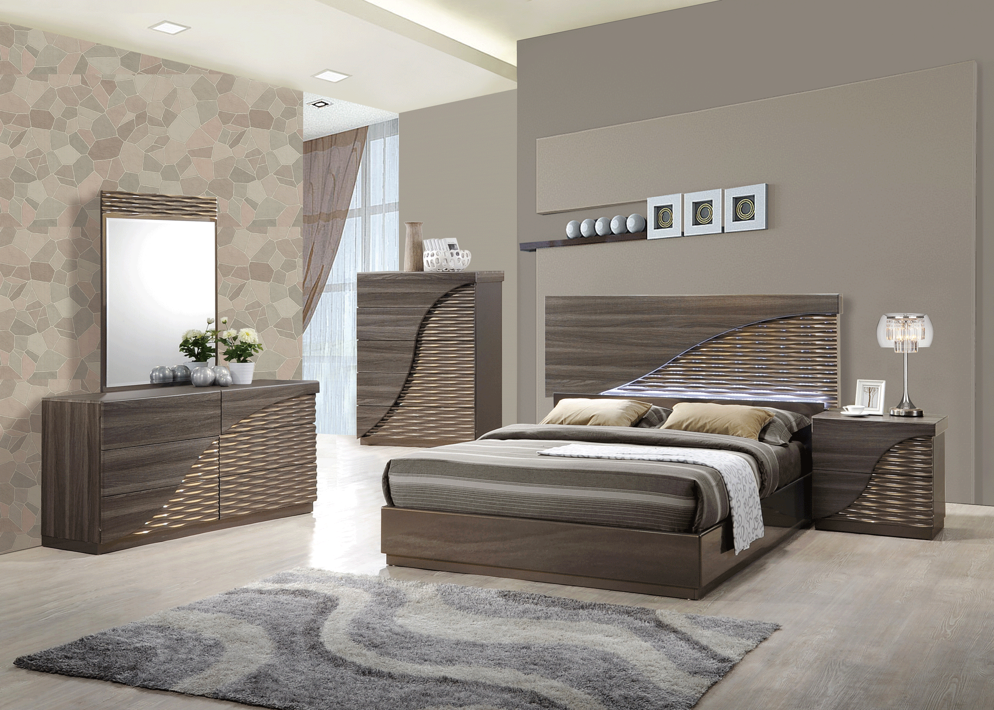 North Zebra Wood Gold Line Bedroom Set by Global Furniture