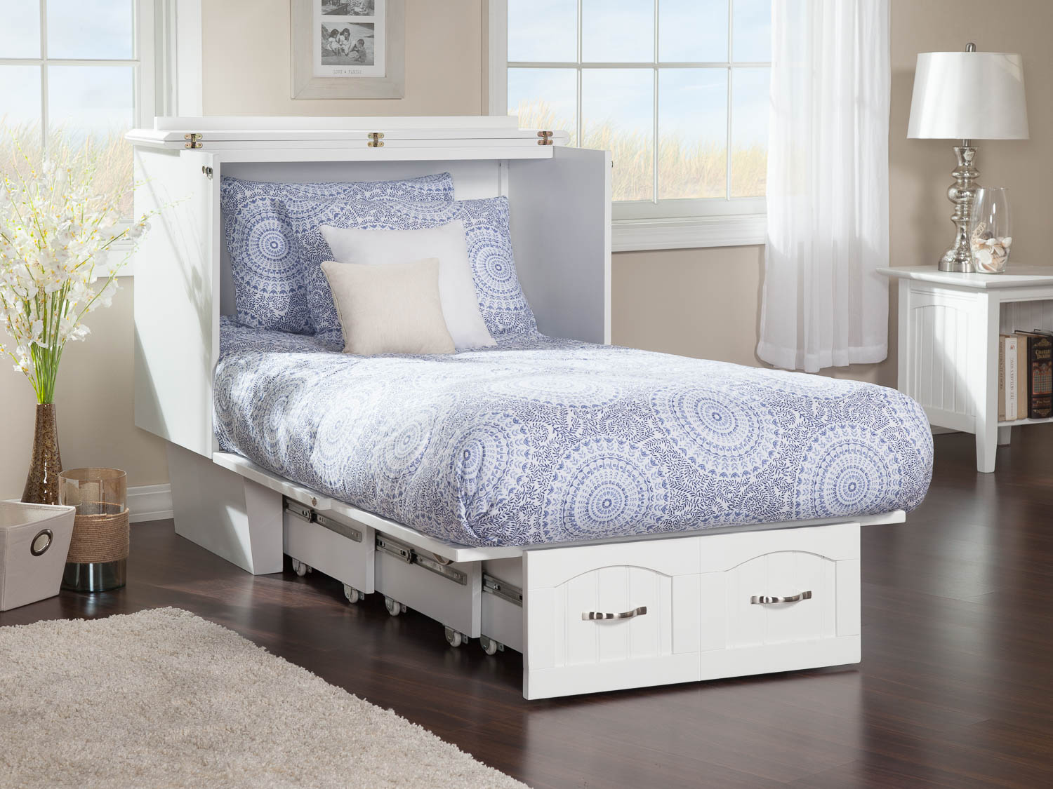 Nantucket Murphy Bed (Chest Bed) White by Atlantic