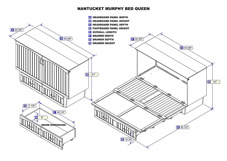 nantucket queen murphy bed (chest bed) espressoatlantic