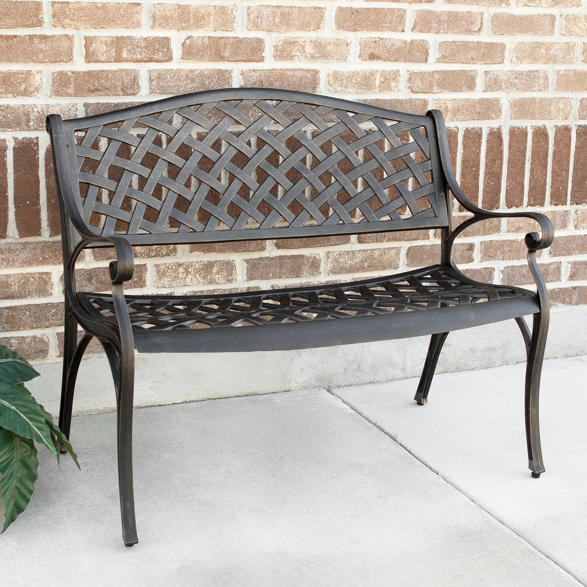 Miraculous Cast Aluminum 42 Inch Wicker Style Bench Antique Bronze By Walker Edison Bralicious Painted Fabric Chair Ideas Braliciousco