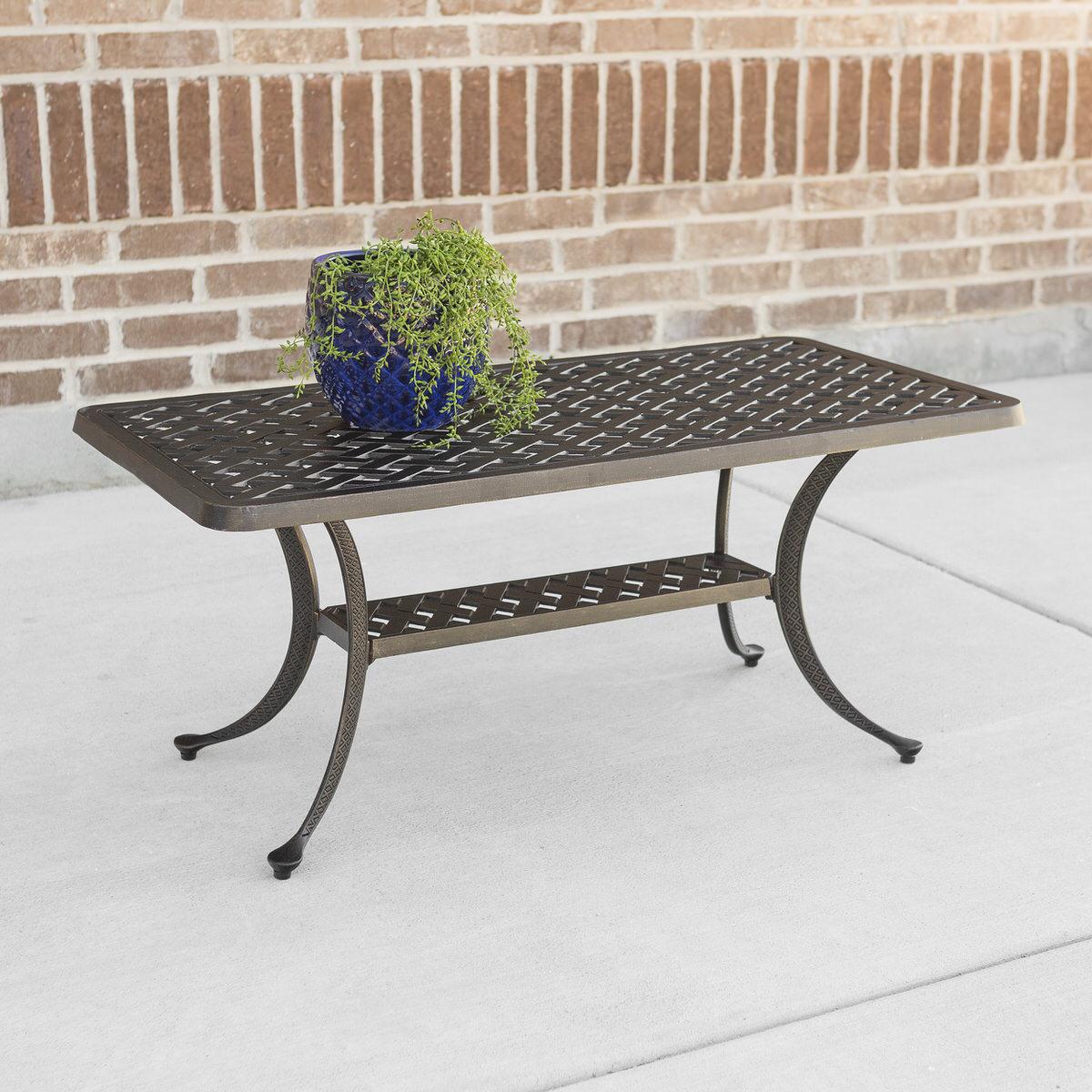 Cast Aluminum Wicker Style Coffee Table   Antique Bronze By Walker Edison