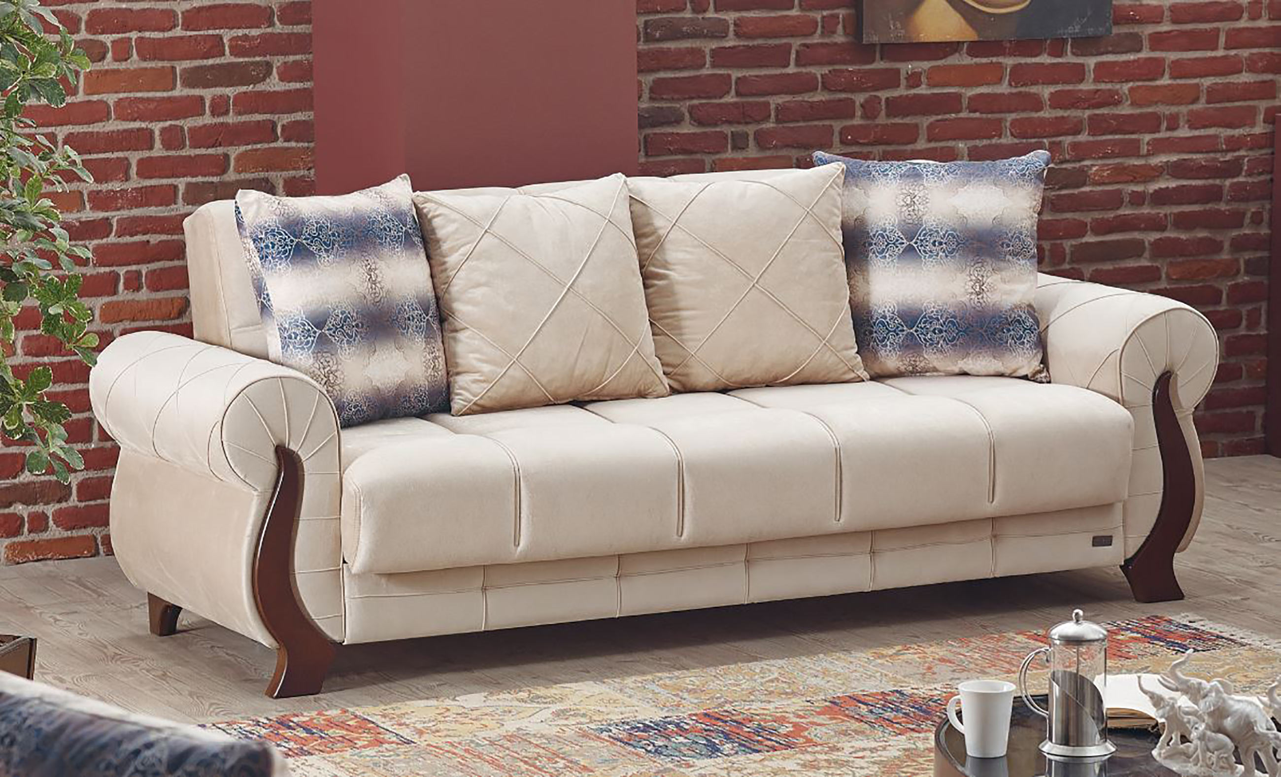 ontario beige fabric sofa bed by empire furniture usa