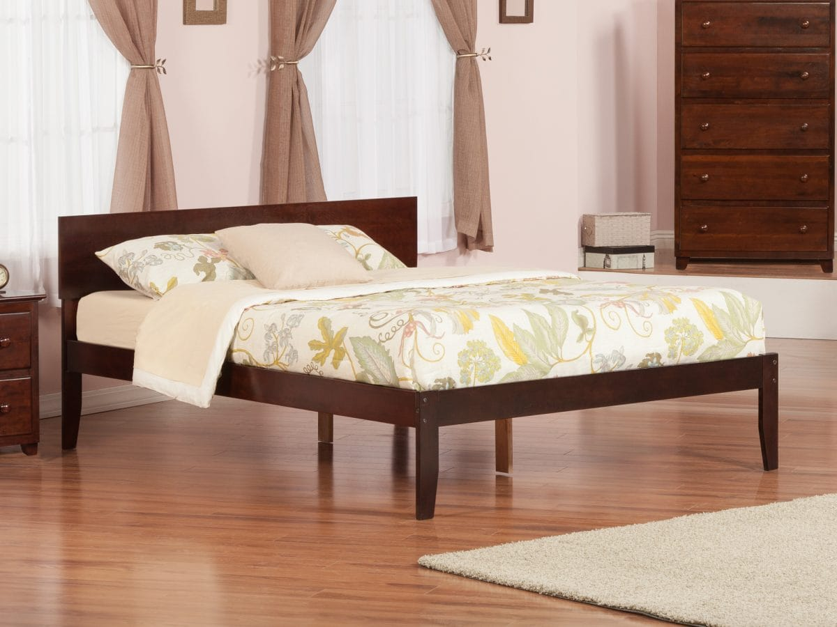 - Orlando Antique Walnut Platform Bed By Atlantic Furniture