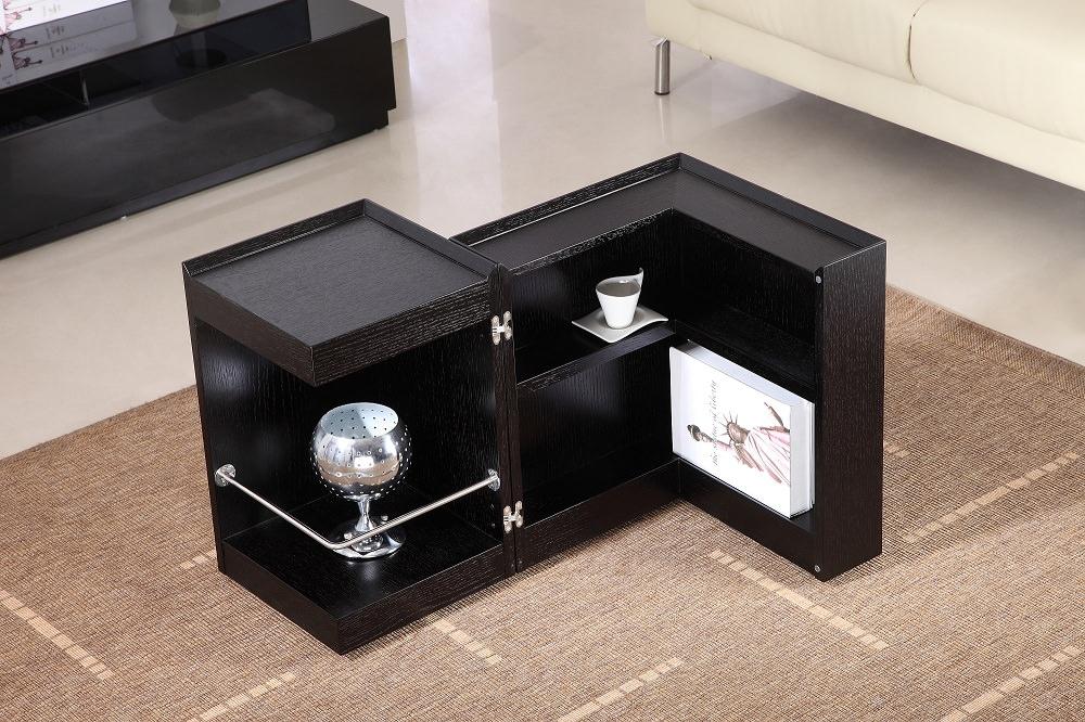 Modern Dark Oak End Table Mini Bar P205B By JampM Furniture
