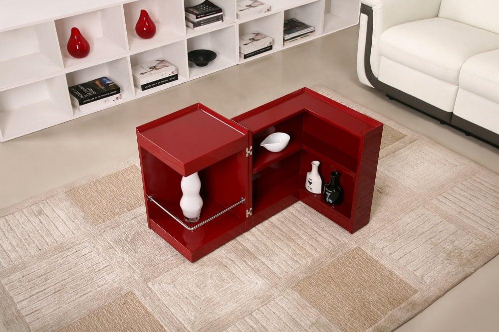 Modern red end table mini bar p205b by j m furniture for Mini bar table design