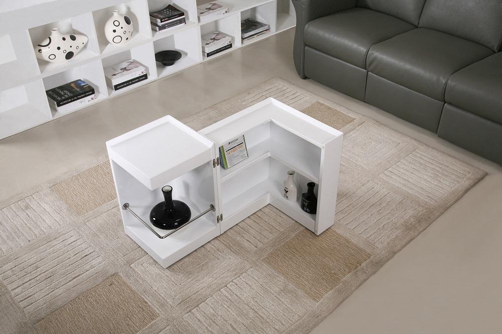 Modern White End Table Mini Bar P205b By J M Furniture