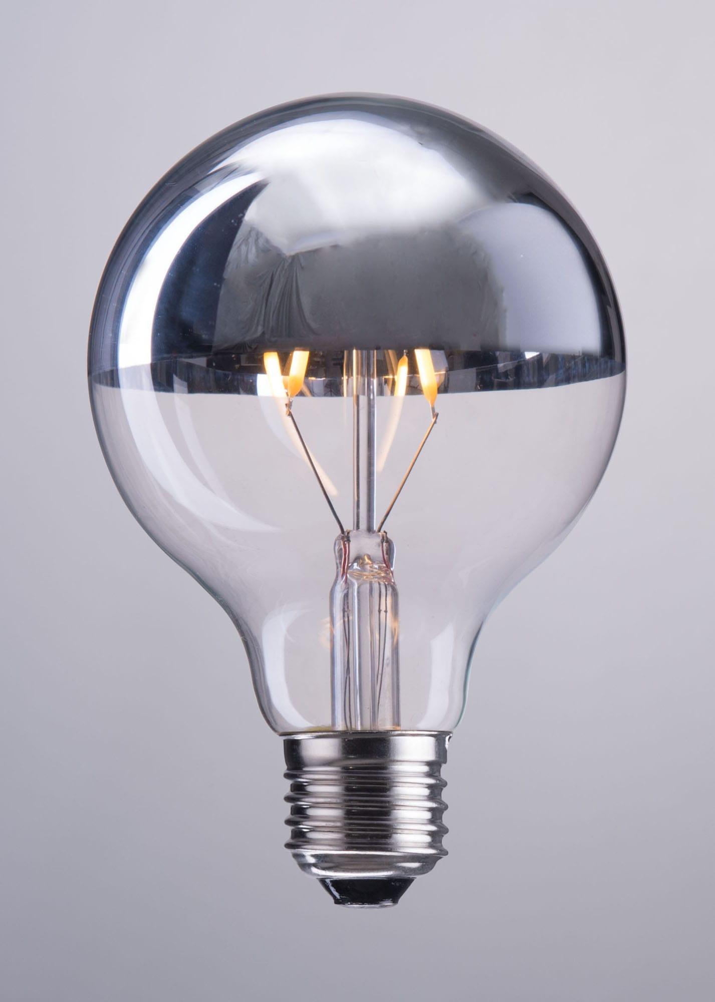 E26 G80 2w Led 110x80mm Half Chrome Light Bulb By Zuo