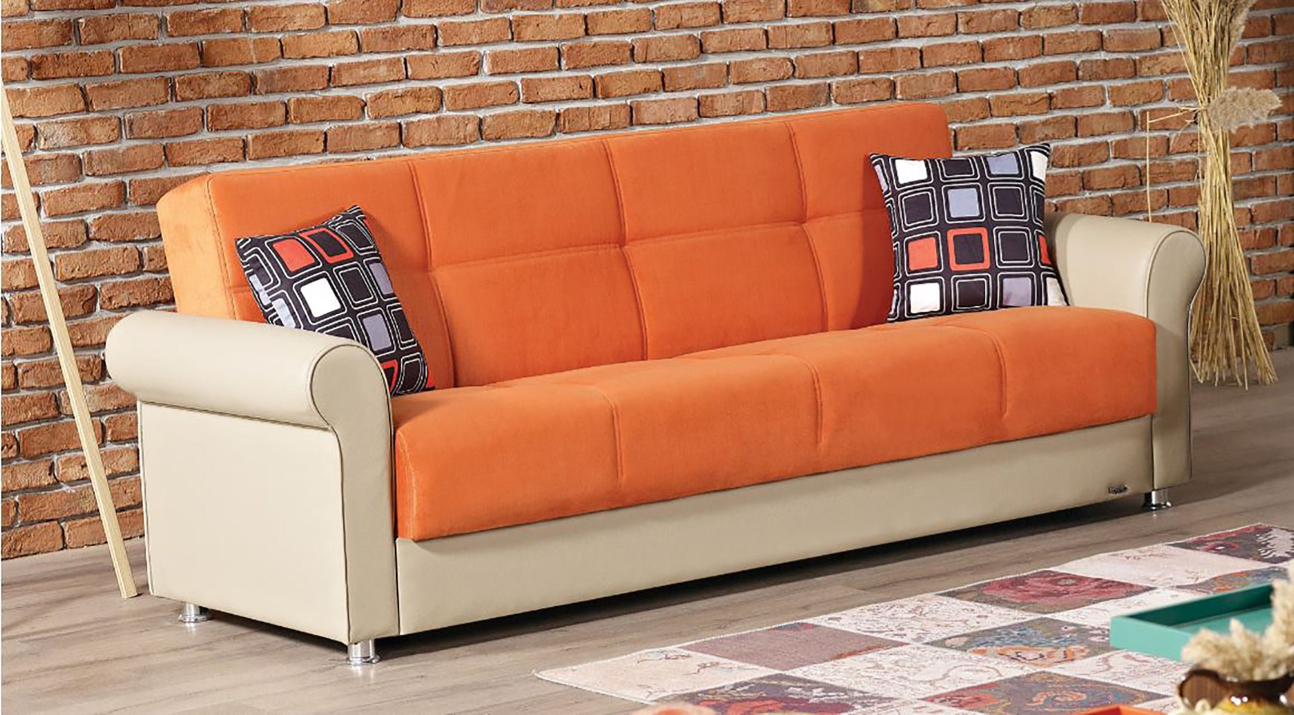 Pacific Orange Fabric Sofa Bed By Empire Furniture Usa
