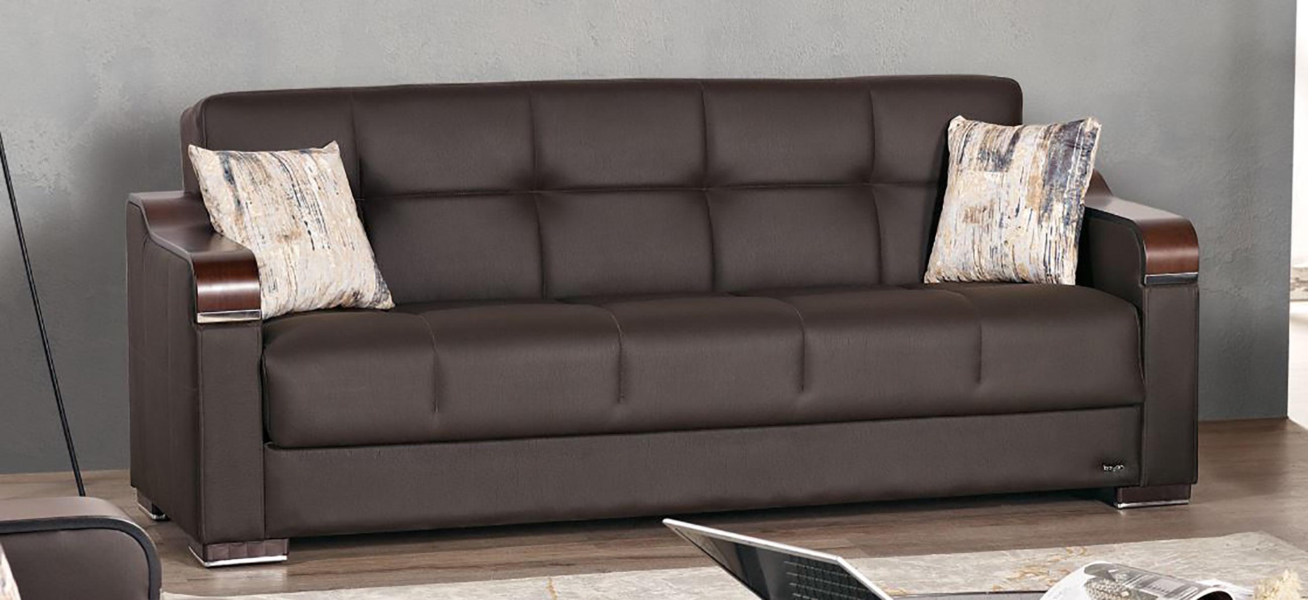 Paramus Dark Brown Fabric Sofa Bed By Empire Furniture Usa