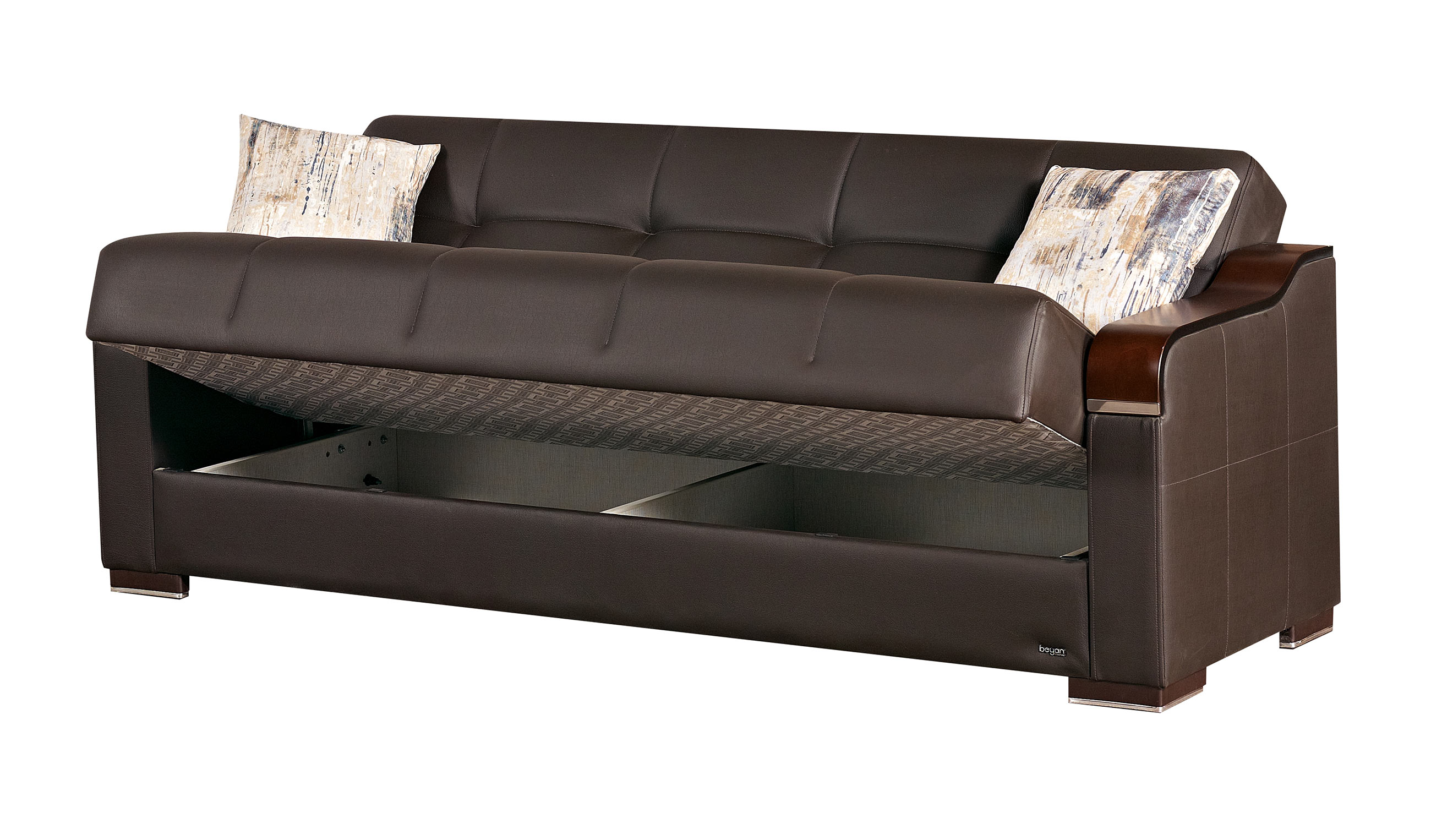 Paramus Dark Brown Fabric Sofa Bed By Empire Furniture Usa