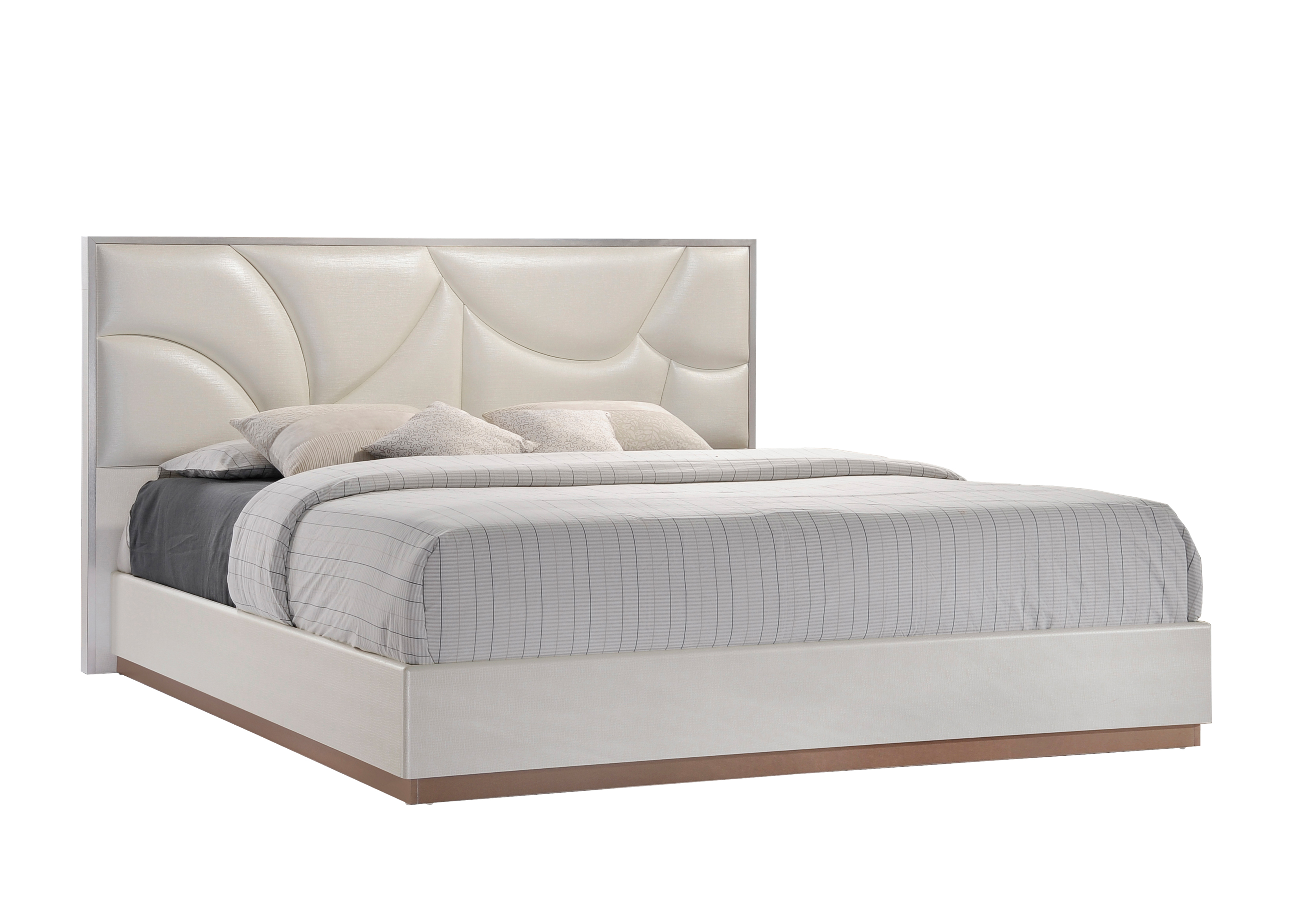Paris Leather Cream Bedroom Set By Global Furniture
