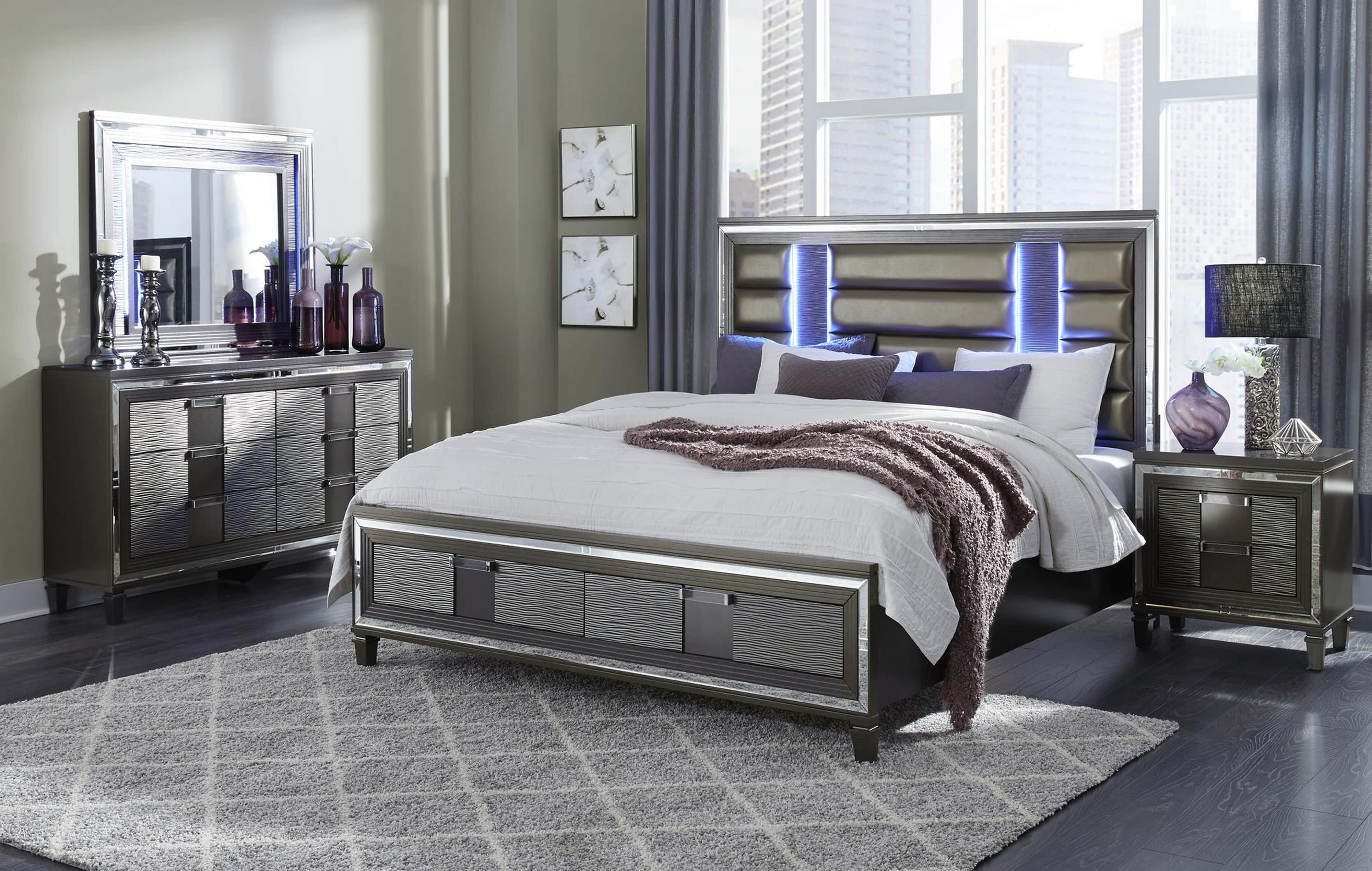 Pisa Metallic Grey Bedroom Set W 8819 Gray Bed By Global Furniture