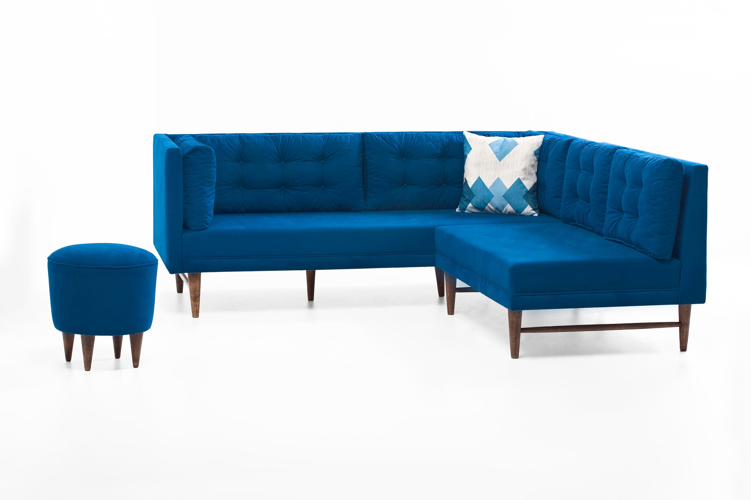 Point Blue Fabric Sectional Sofa by Empire Furniture USA
