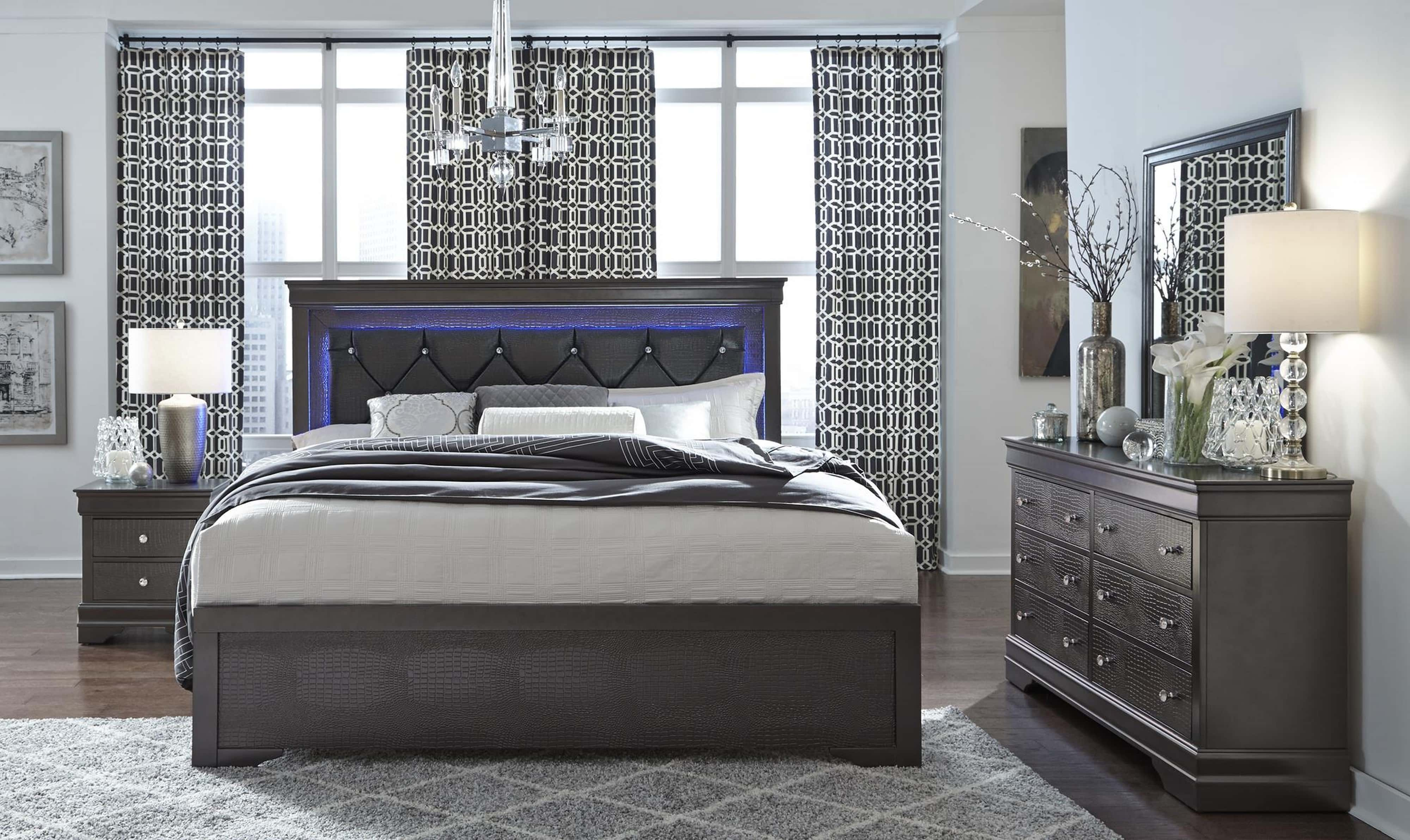 Pompei Metallic Grey Bedroom Set By Global Furniture