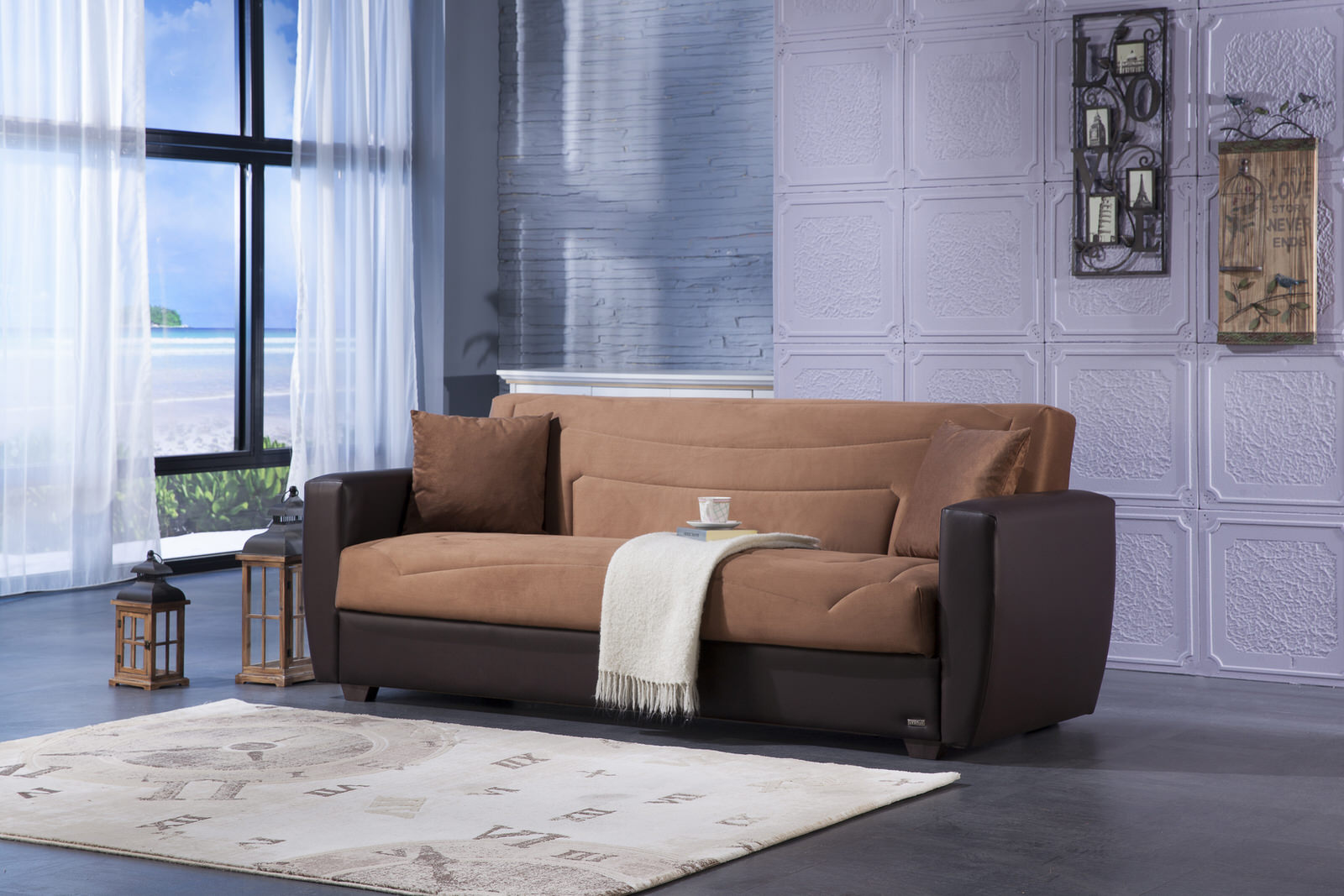 Power Rainbow Brown Convertible Sofa Bed By Istikbal Sunset