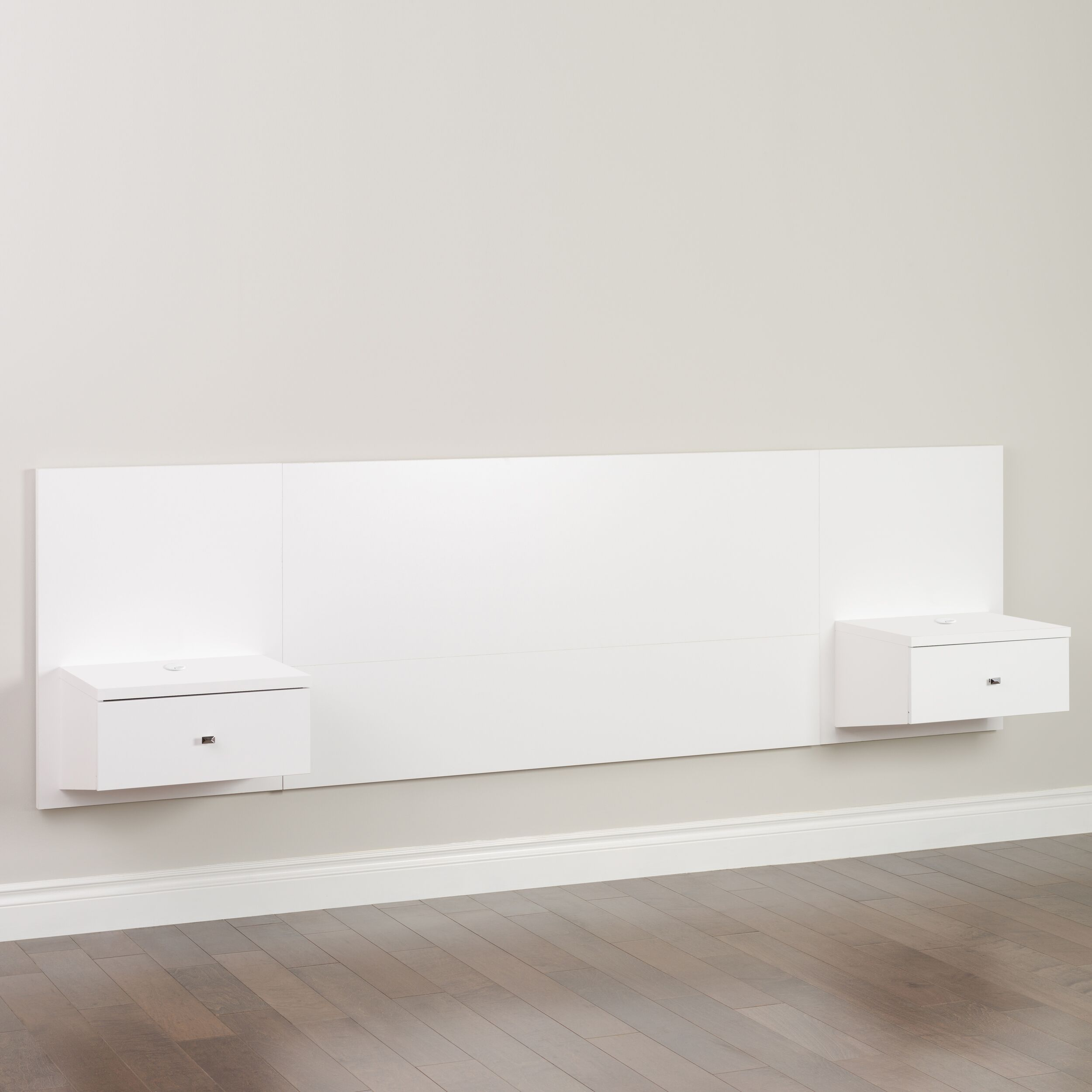 Floating White Queen Headboard W Nightstand By Prepac