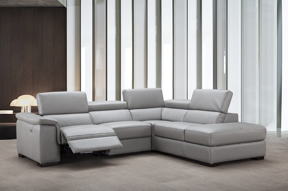 Perla Premium Italian Leather Sectional Element Grey By J M Furniture
