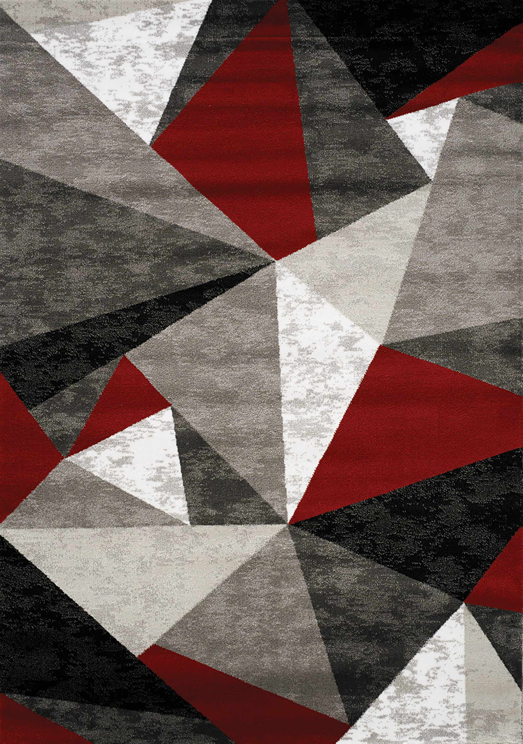 Platinum Red Grey Black Triangles Rug