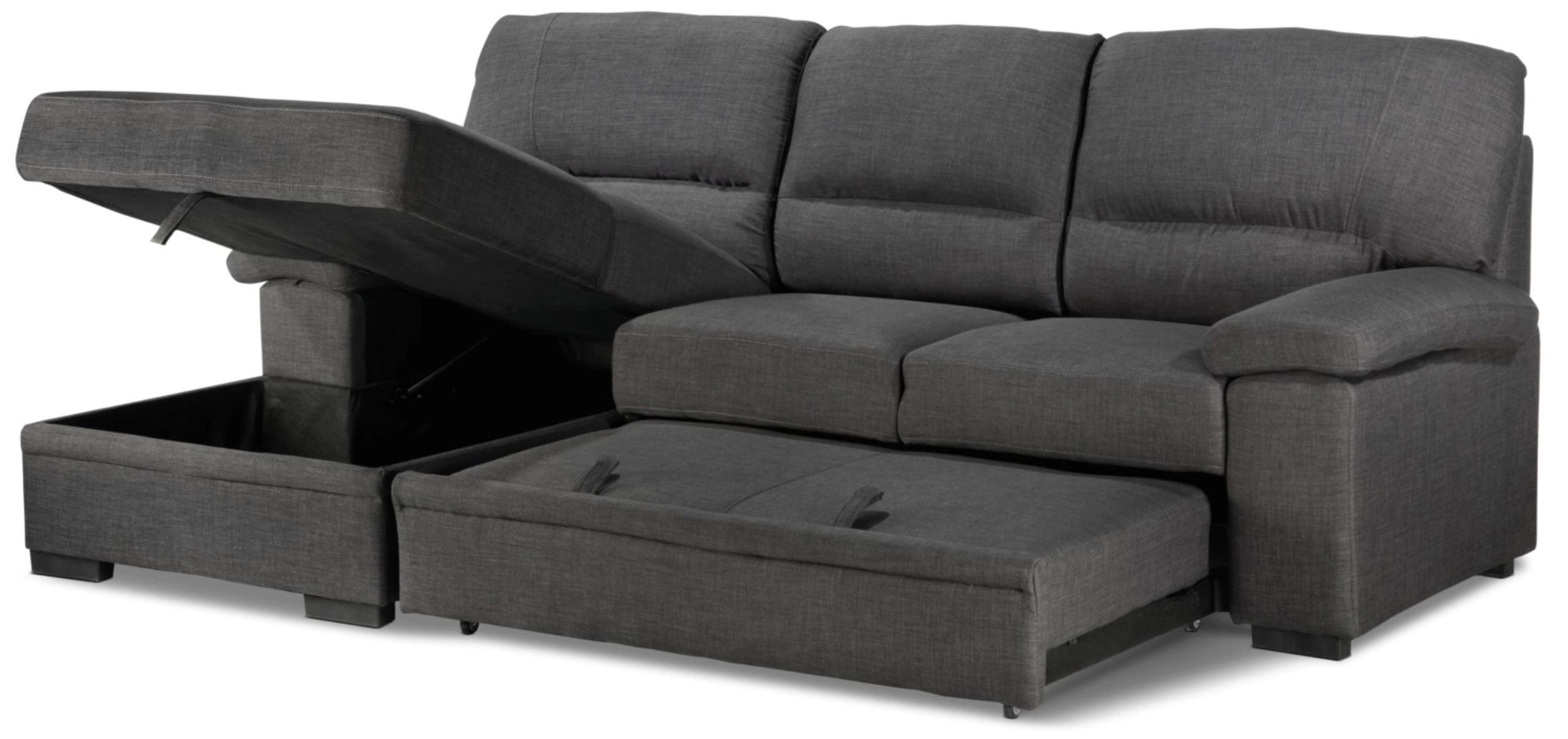 Tessaro Sleeper Sectional Dark Gray By Primo