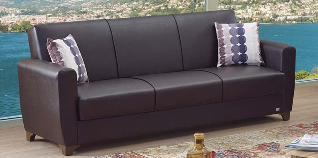 Queens Dark Brown Leatherette Sofa Bed