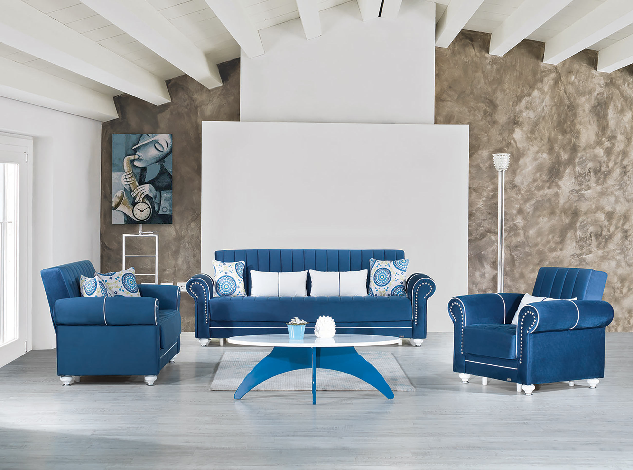Royal Home Riva Dark Blue Convertible Sofa by Casamode