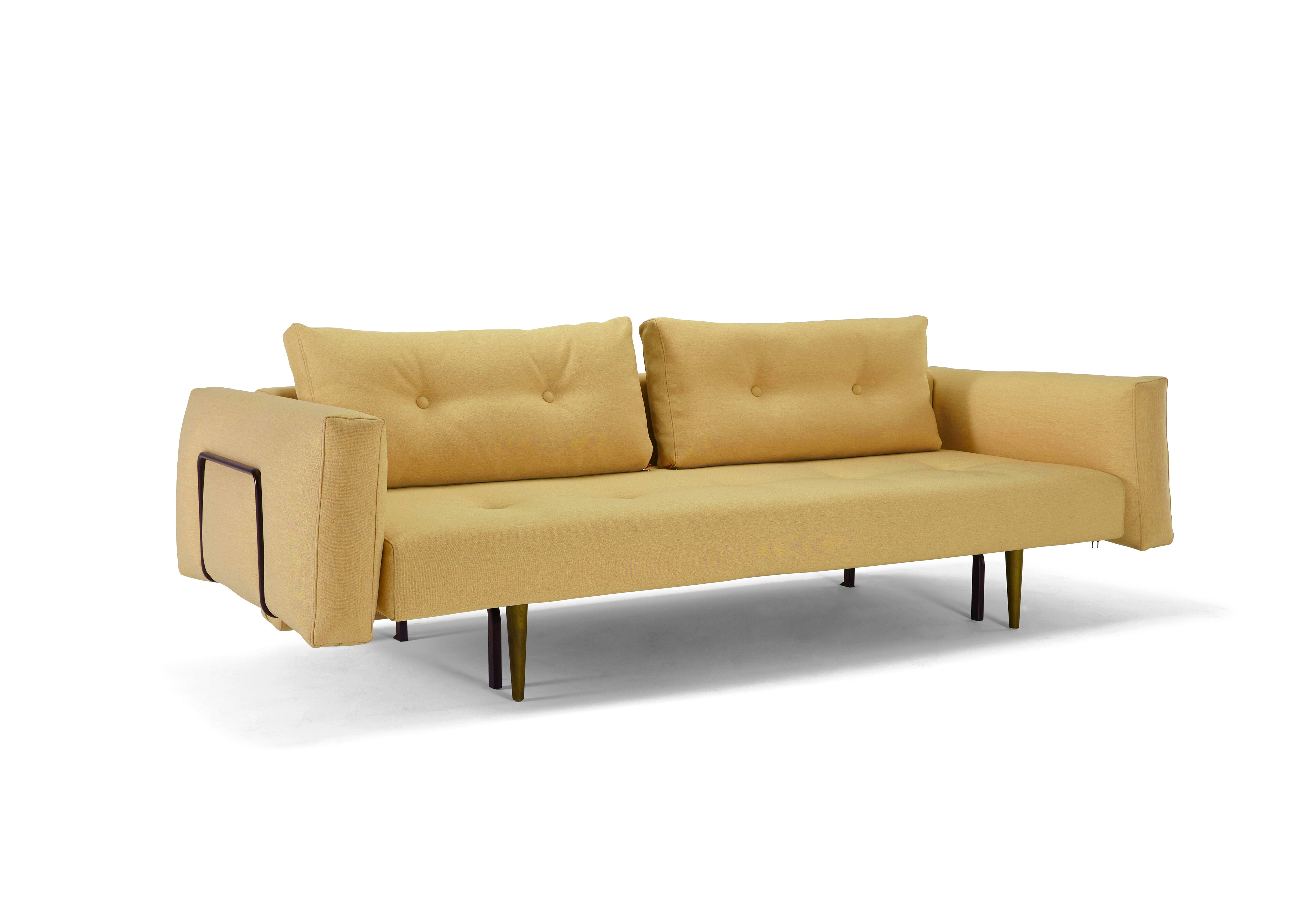 Recast Plus Sofa Bed W Arms Full Size Soft Mustard Flower By Innovation