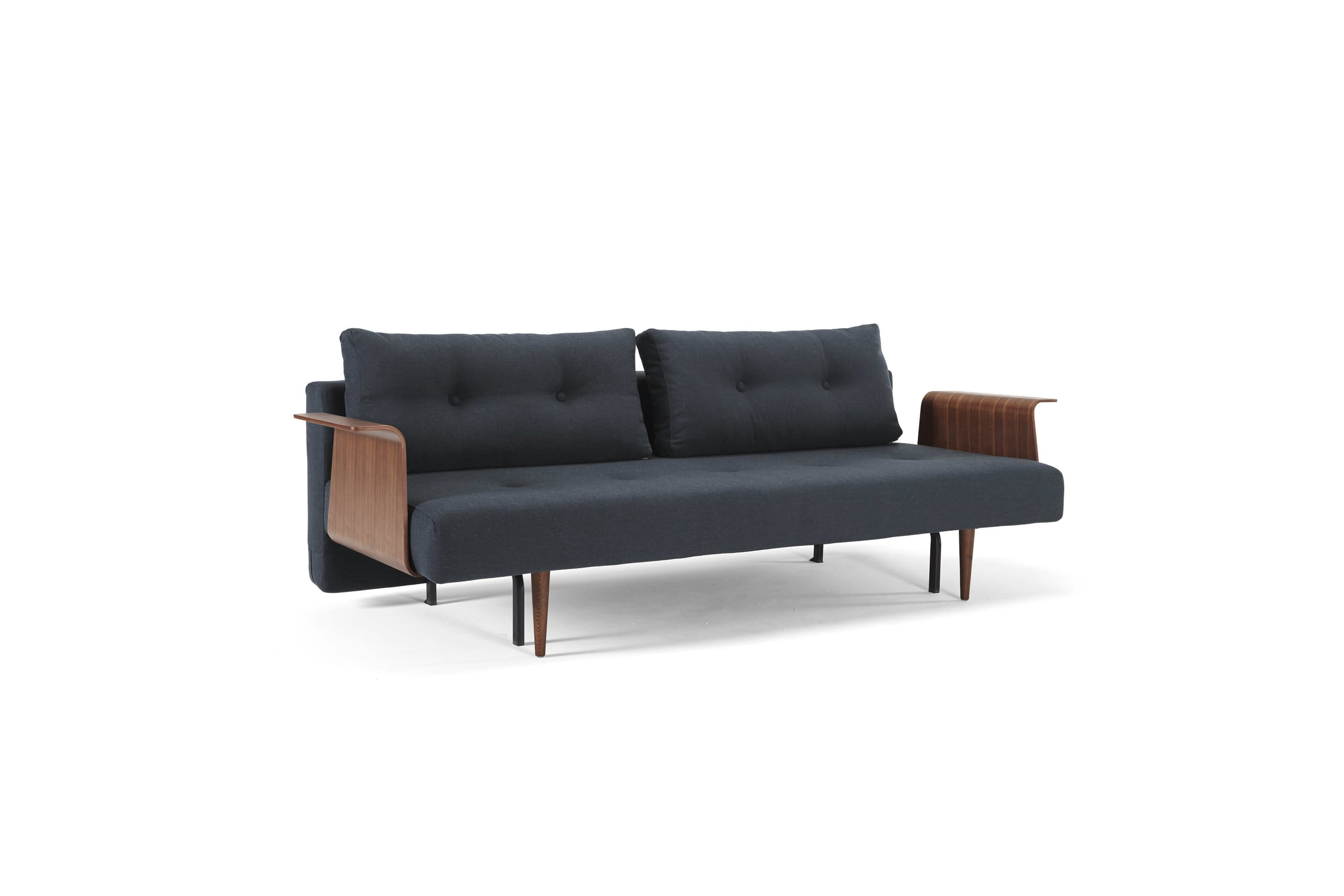 Recast Sofa Bed w Walnut Arms Full Size Nist Blue by Innovation