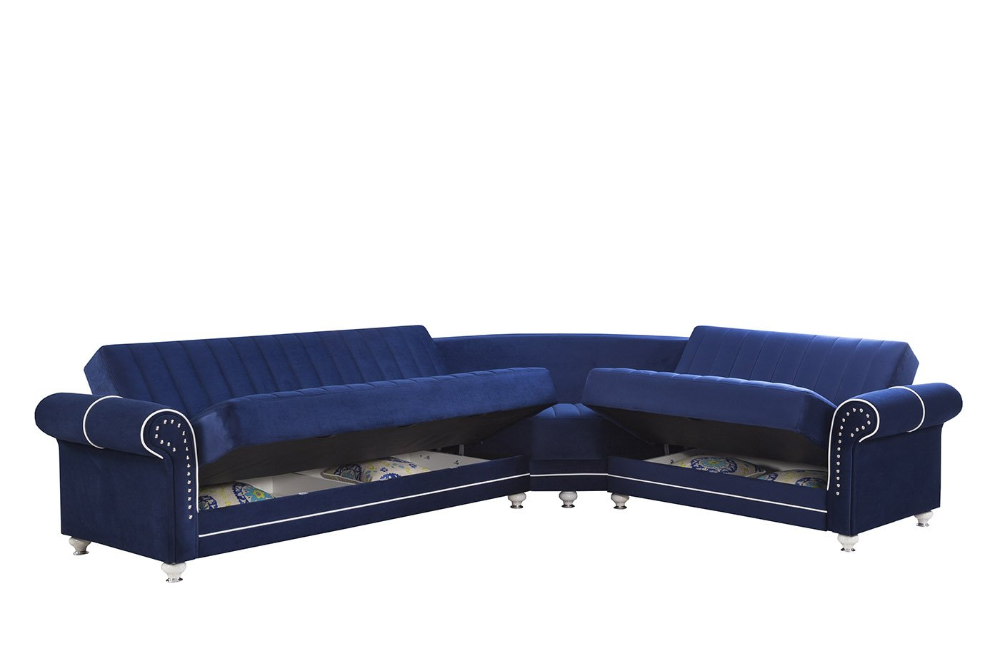 Royal Home Riva Dark Blue Convertible Sectional By Casamode