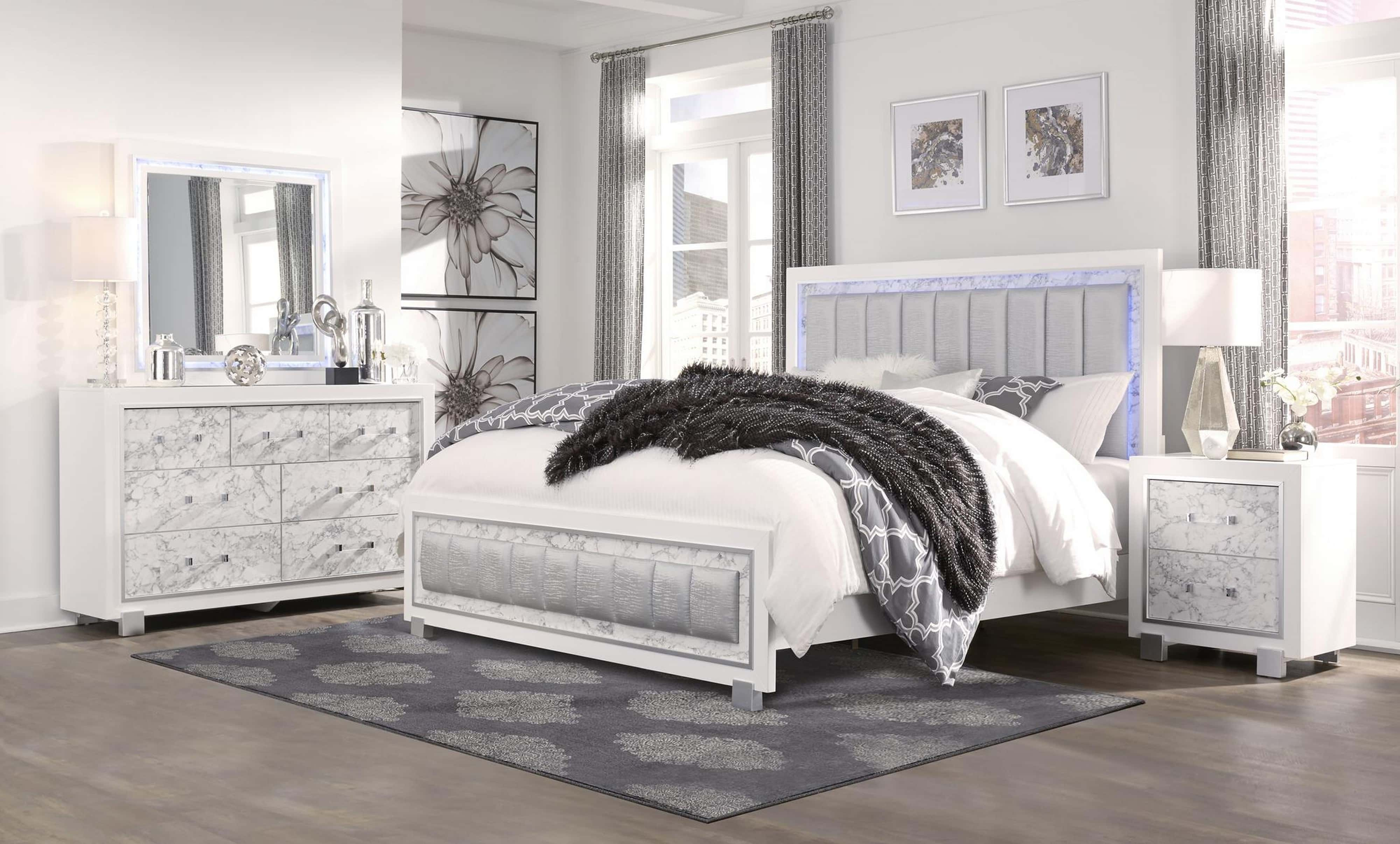 Santorini Metallic White Marble Bedroom Set By Global Furniture