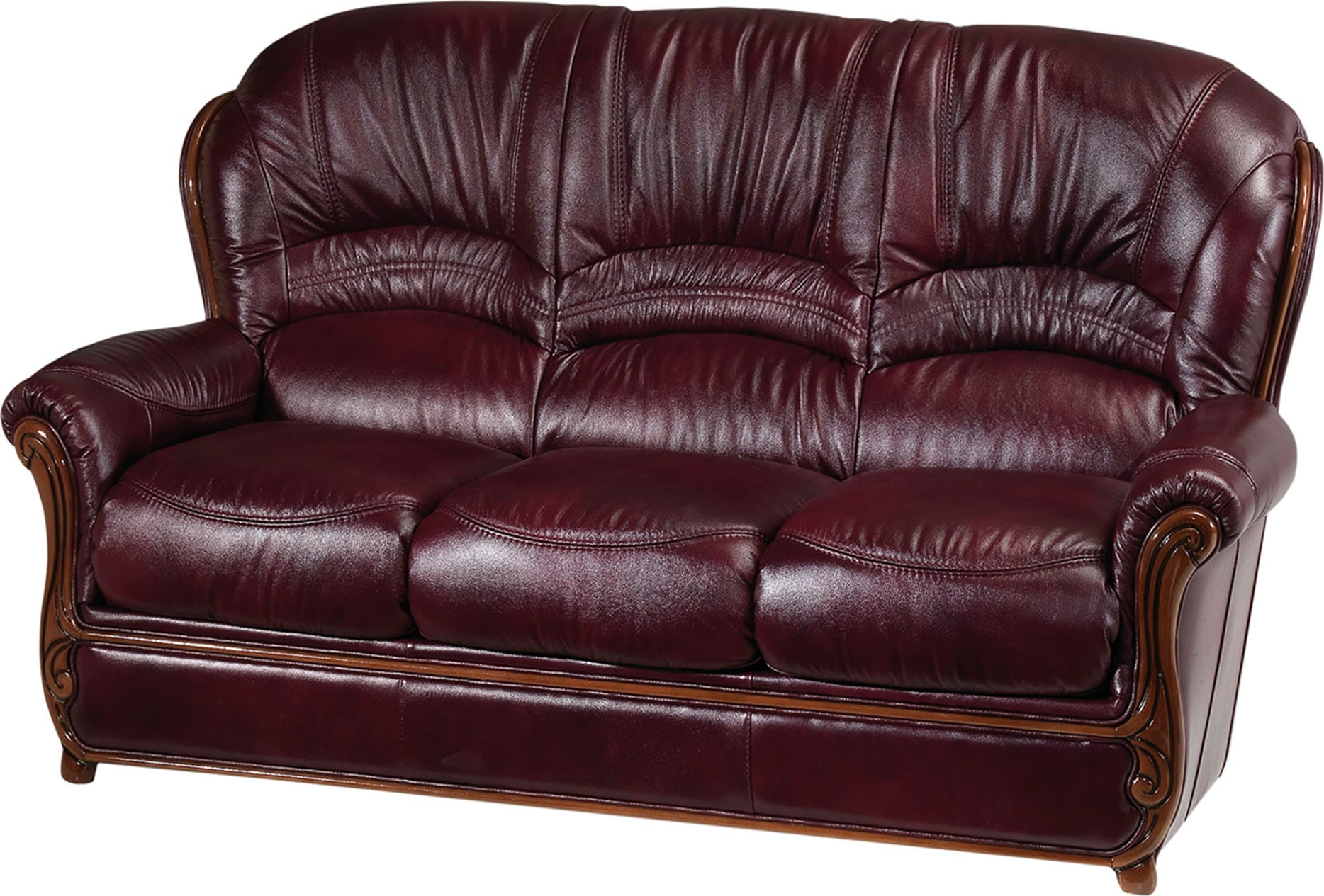 Sara Antic Red Leather Sofa by ESF