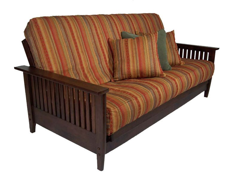 denali dark cherry full wall hugger futon frame by strata furniture